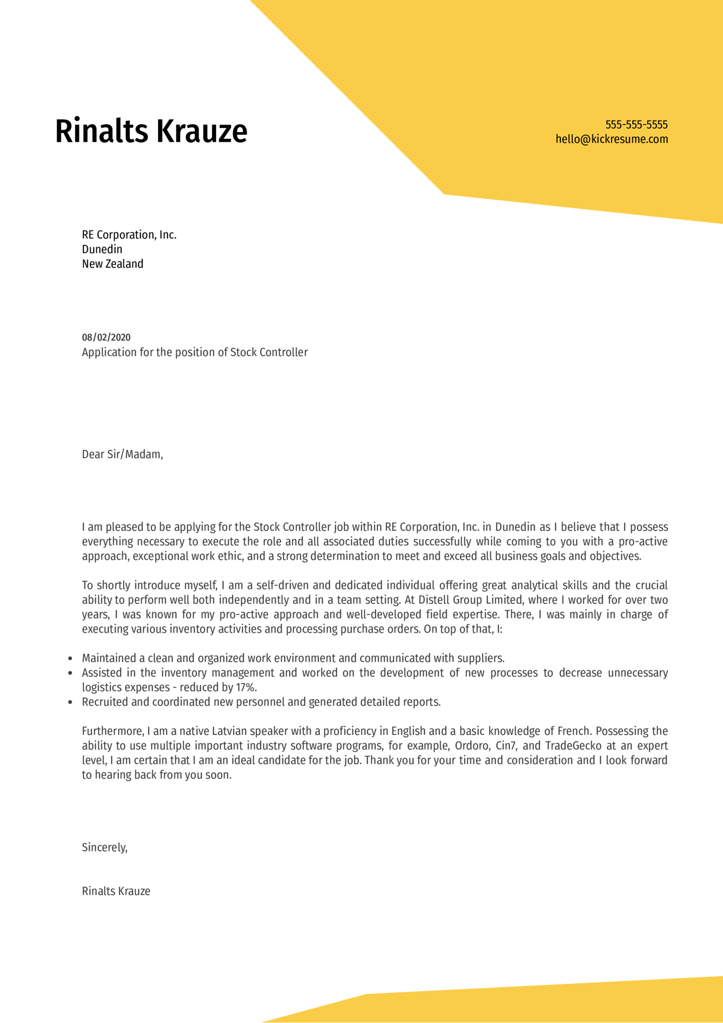 Stock Controller Cover Letter Example