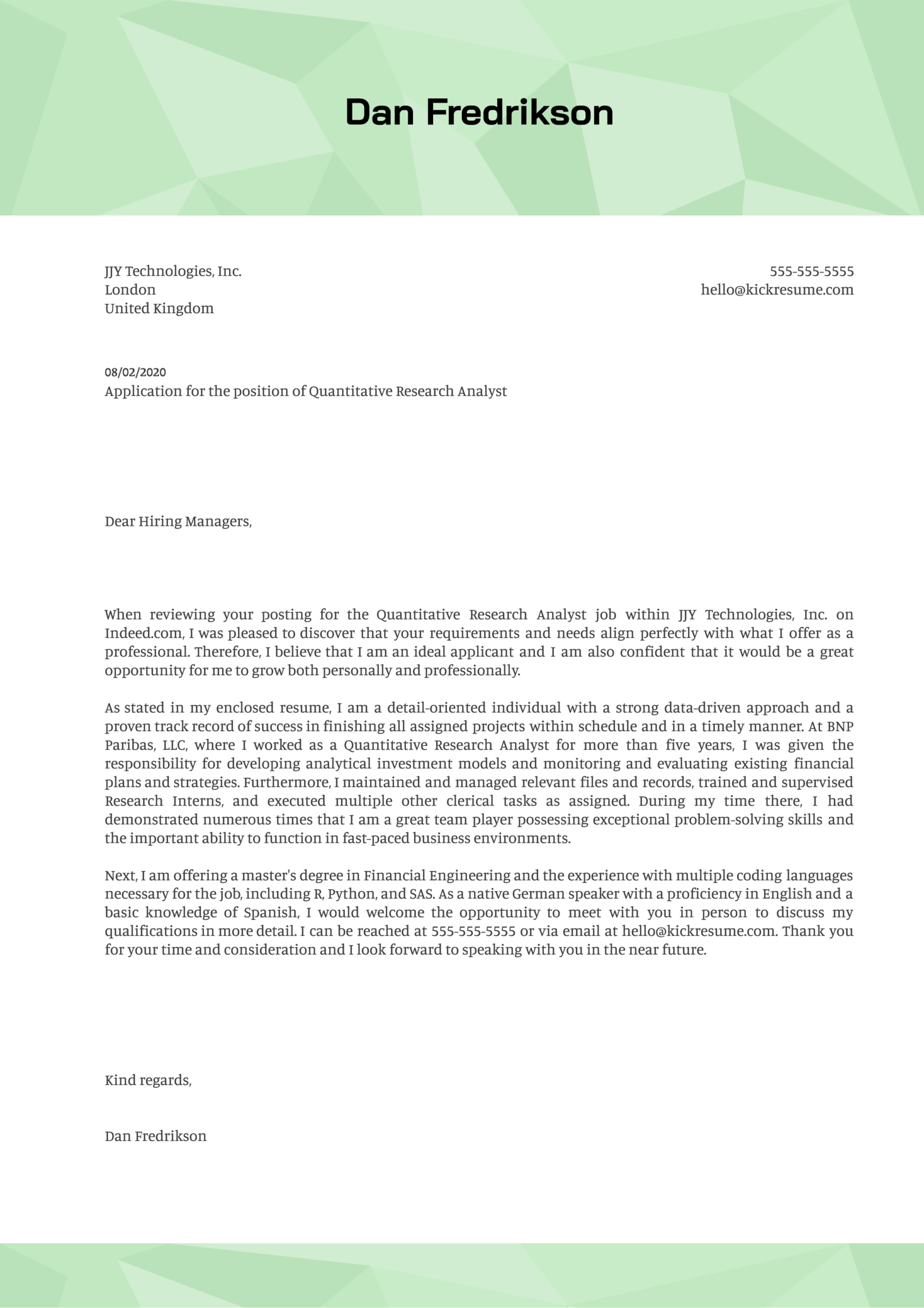 Quantitative Research Analyst Cover Letter Sample
