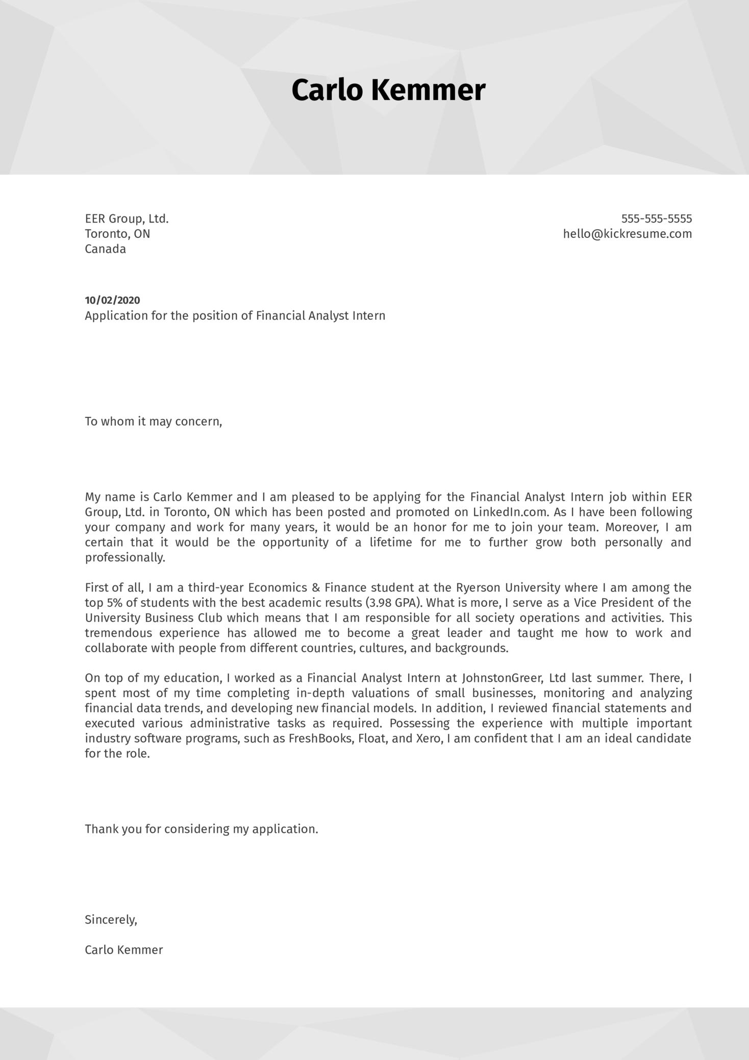 Financial Analyst Internship Cover Letter Sample