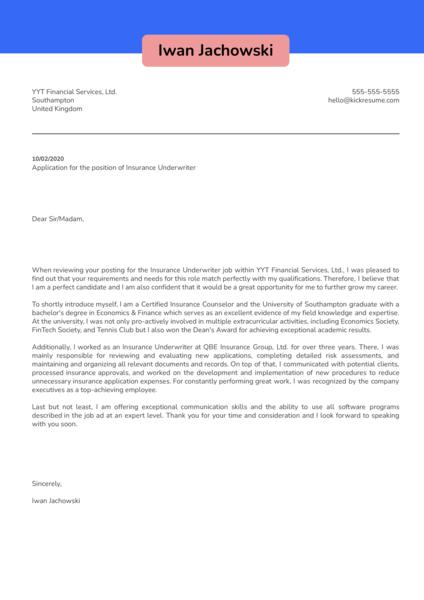 Insurance Underwriter Cover Letter Example