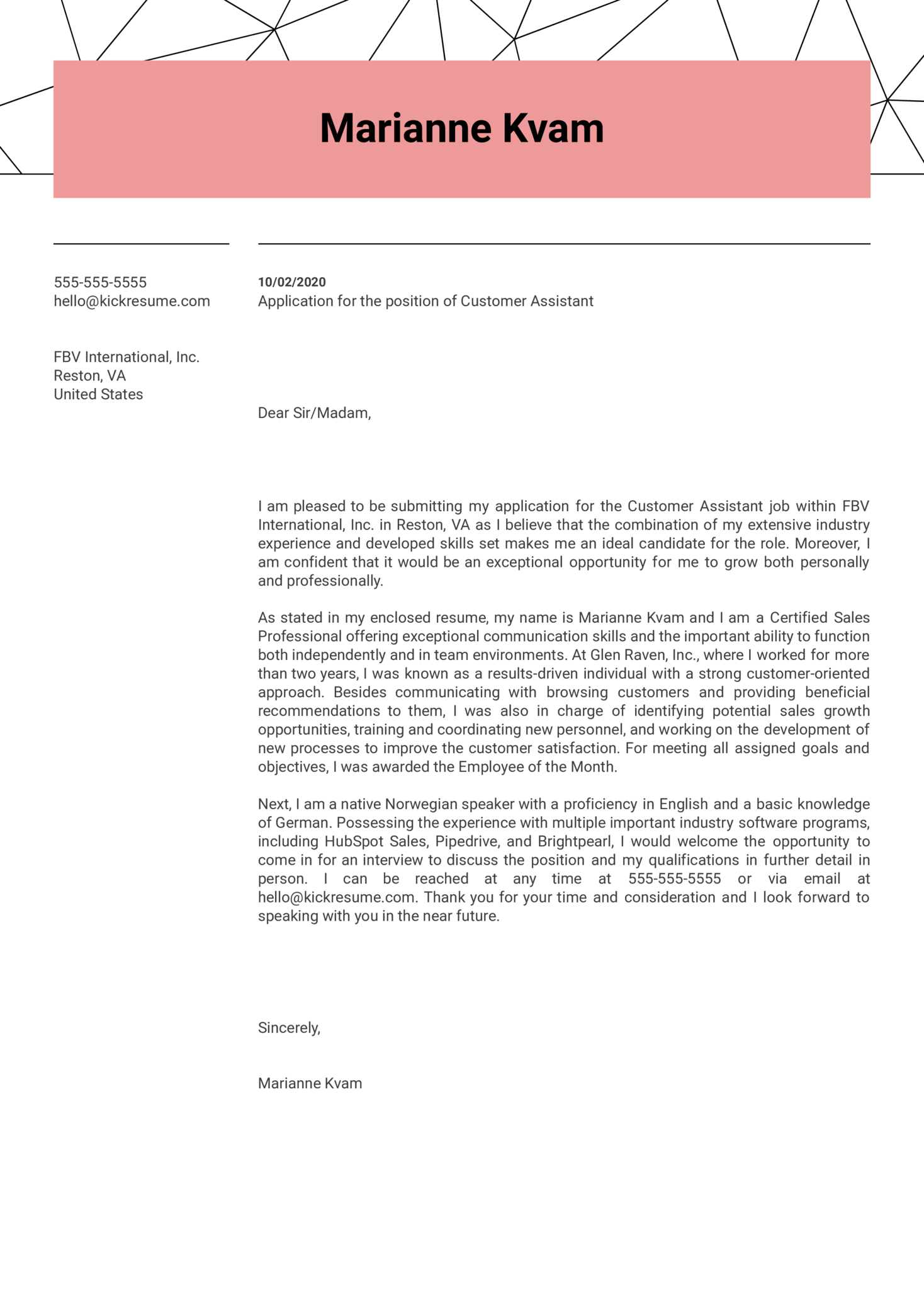 Customer Assistant Cover Letter Example