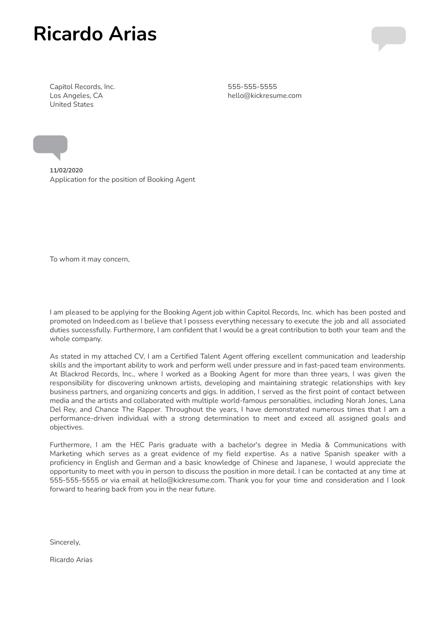 Booking Agent Cover Letter Example