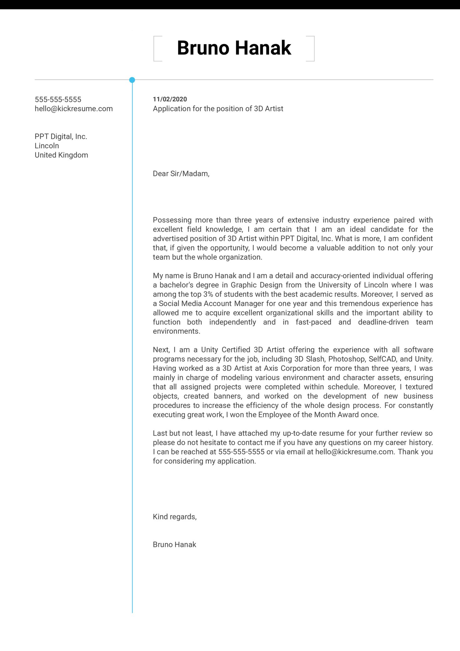 3D Artist Cover Letter Sample