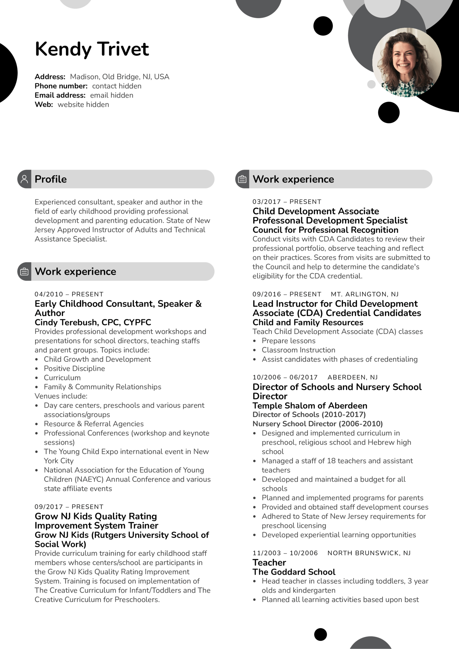 Rutgers University Child Development Associate Resume Sample (Part 1)