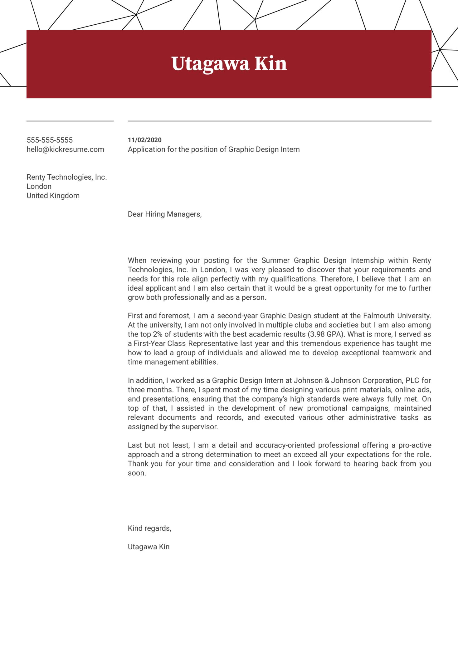 Graphic Design Internship Cover Letter Example