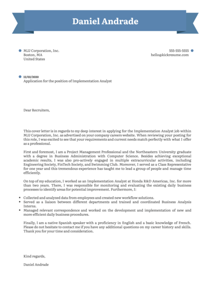 Implementation Analyst Cover Letter Sample