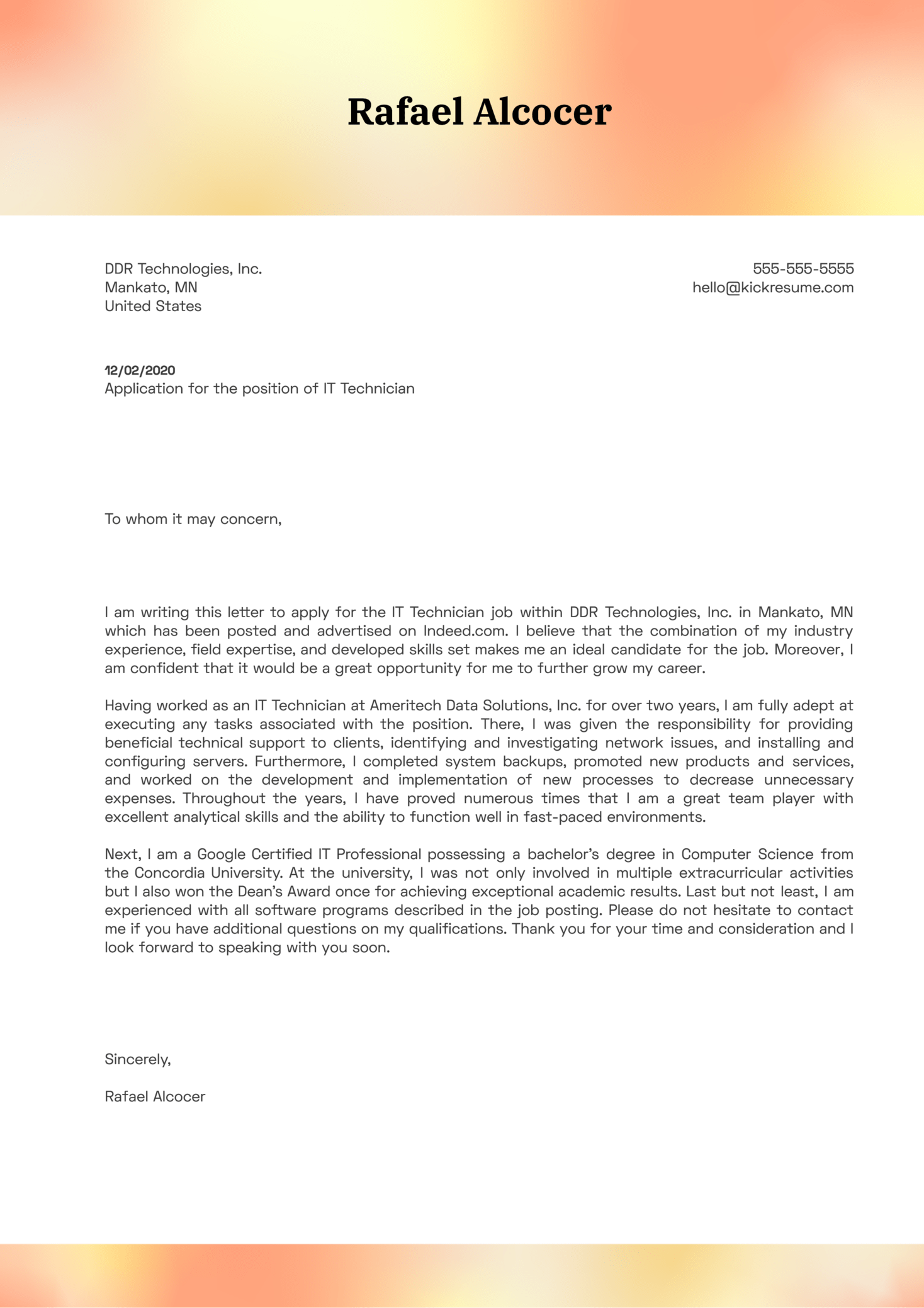 IT Technician Cover Letter Example
