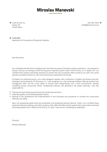 Equipment Operator Cover Letter Example