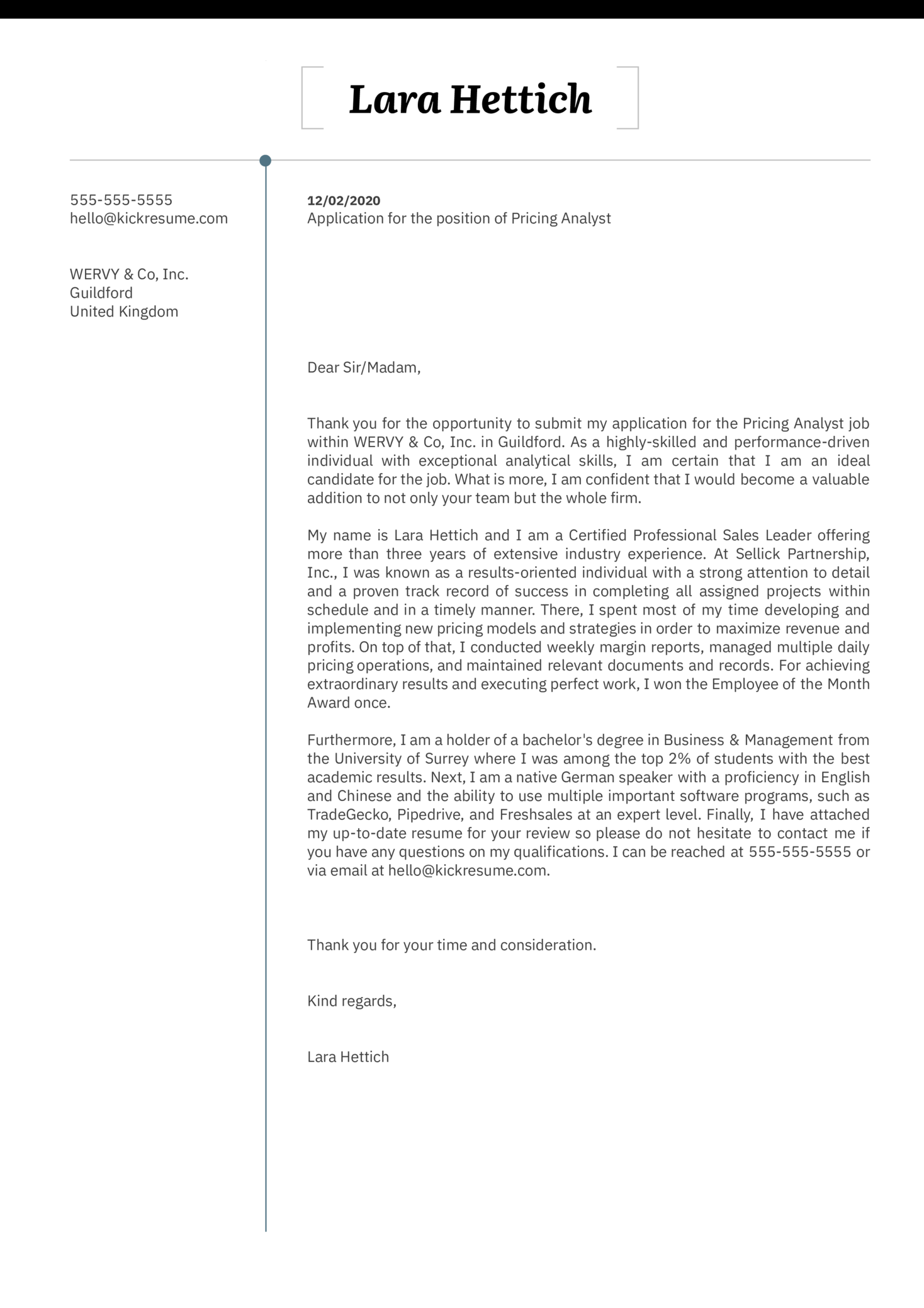 Pricing Analyst Cover Letter Sample