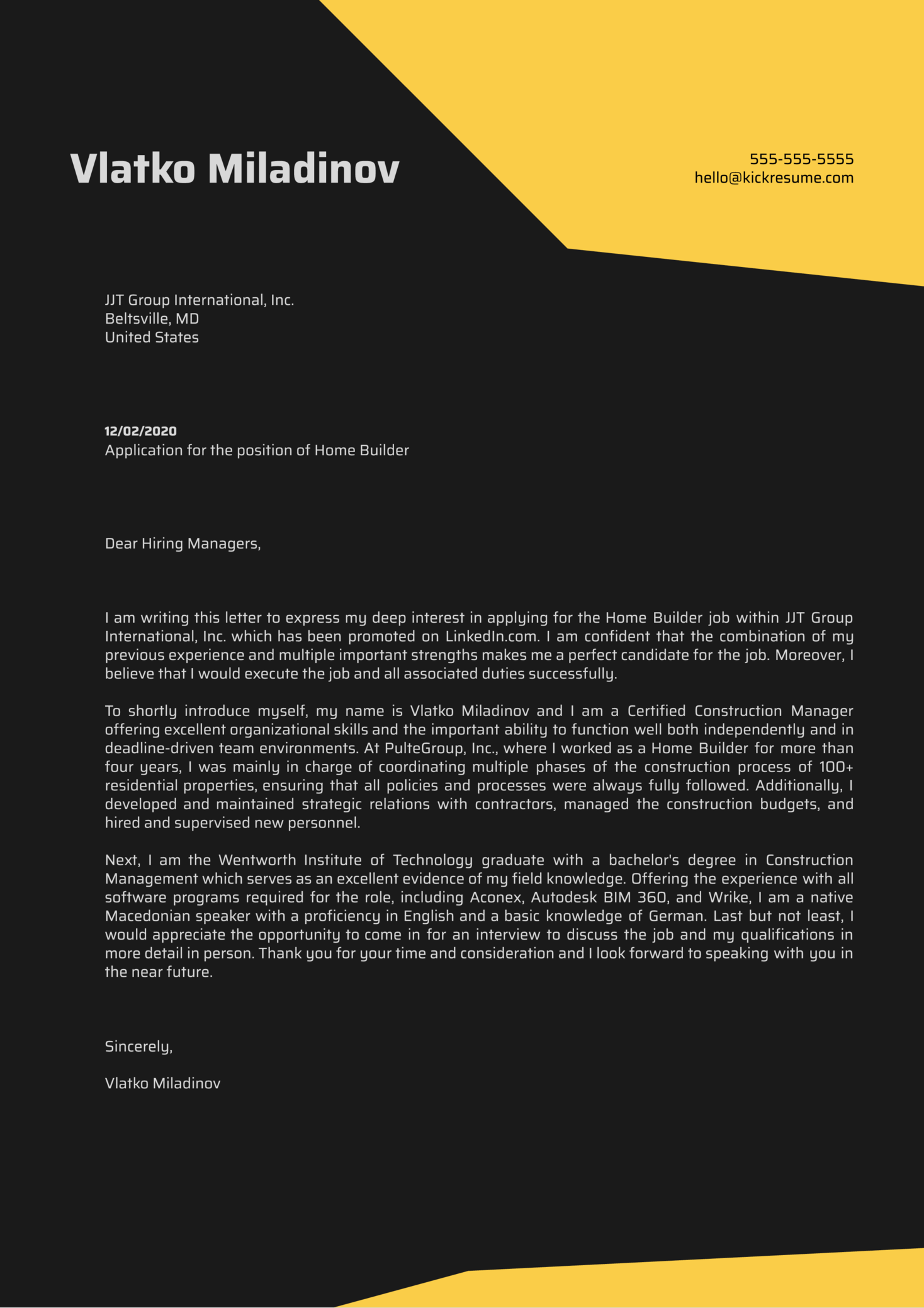 Home Builder Cover Letter Example