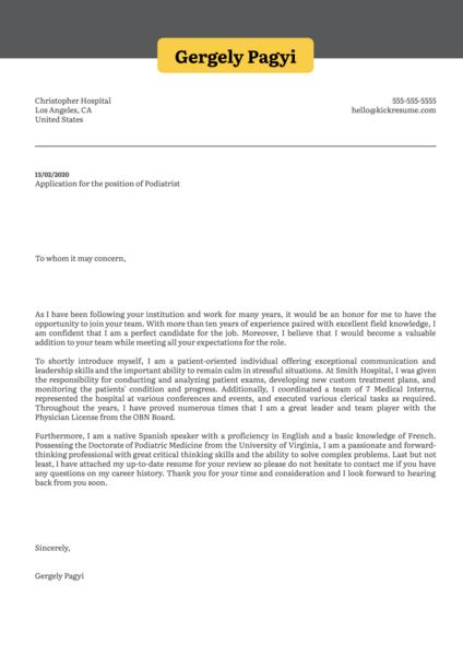 Podiatrist Cover Letter Sample