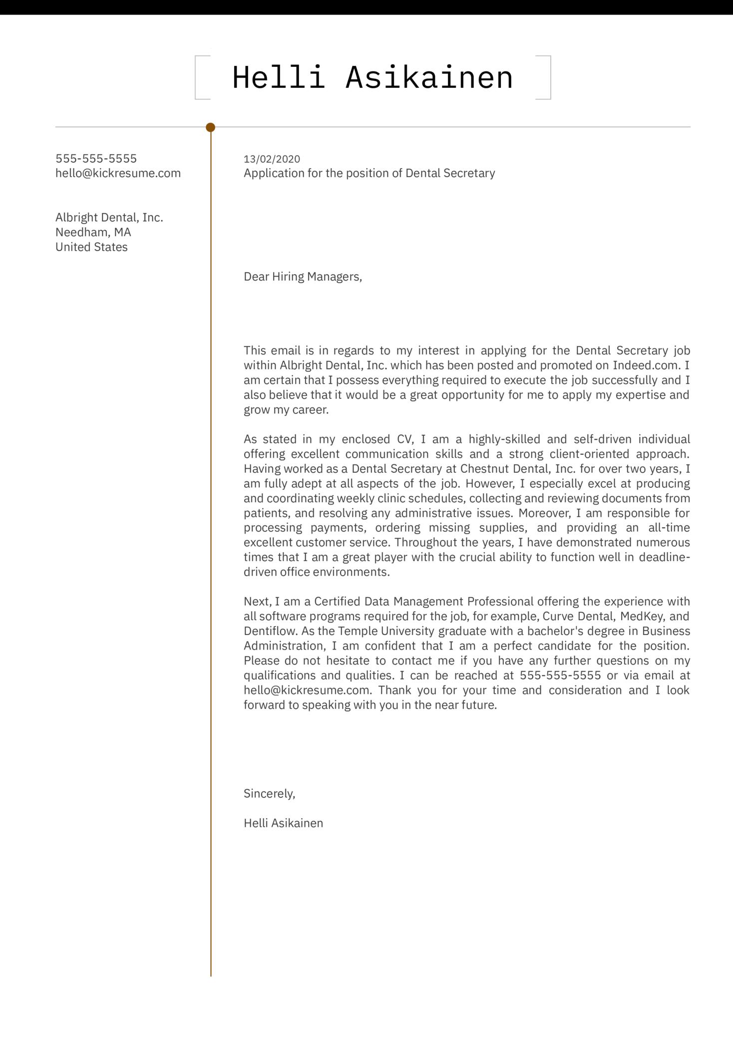 Dental Secretary Cover Letter Sample