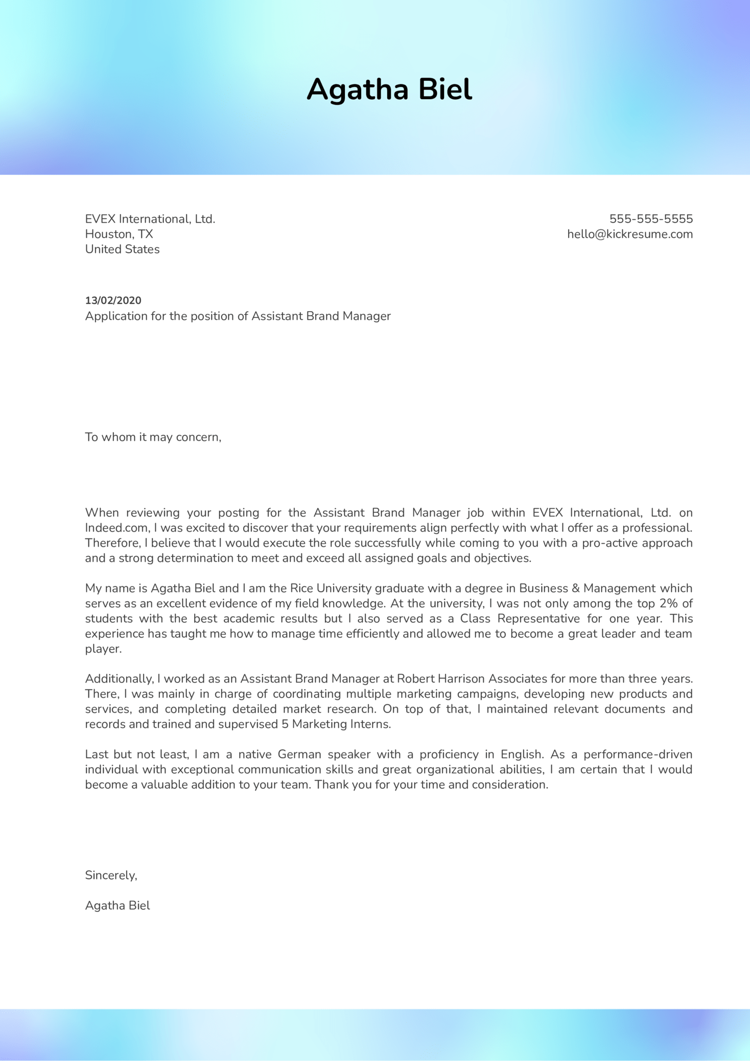 Assistant Brand Manager Cover Letter Sample