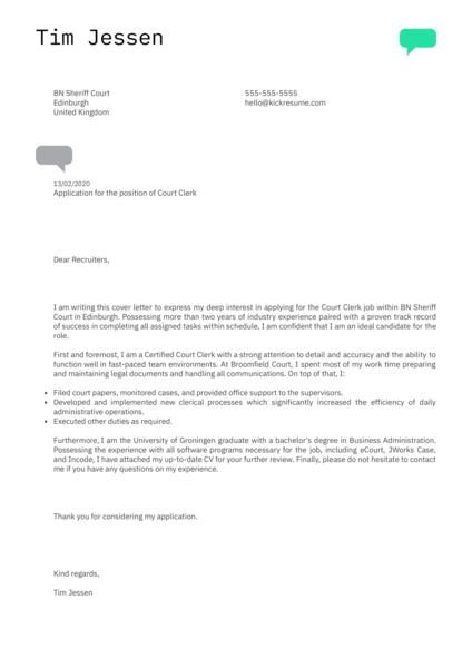 Court Clerk Cover Letter Example