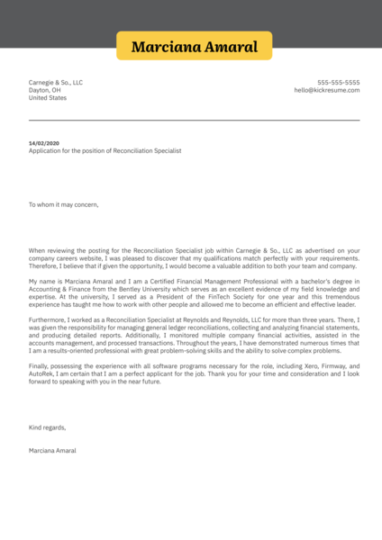 Reconciliation Specialist Cover Letter Sample