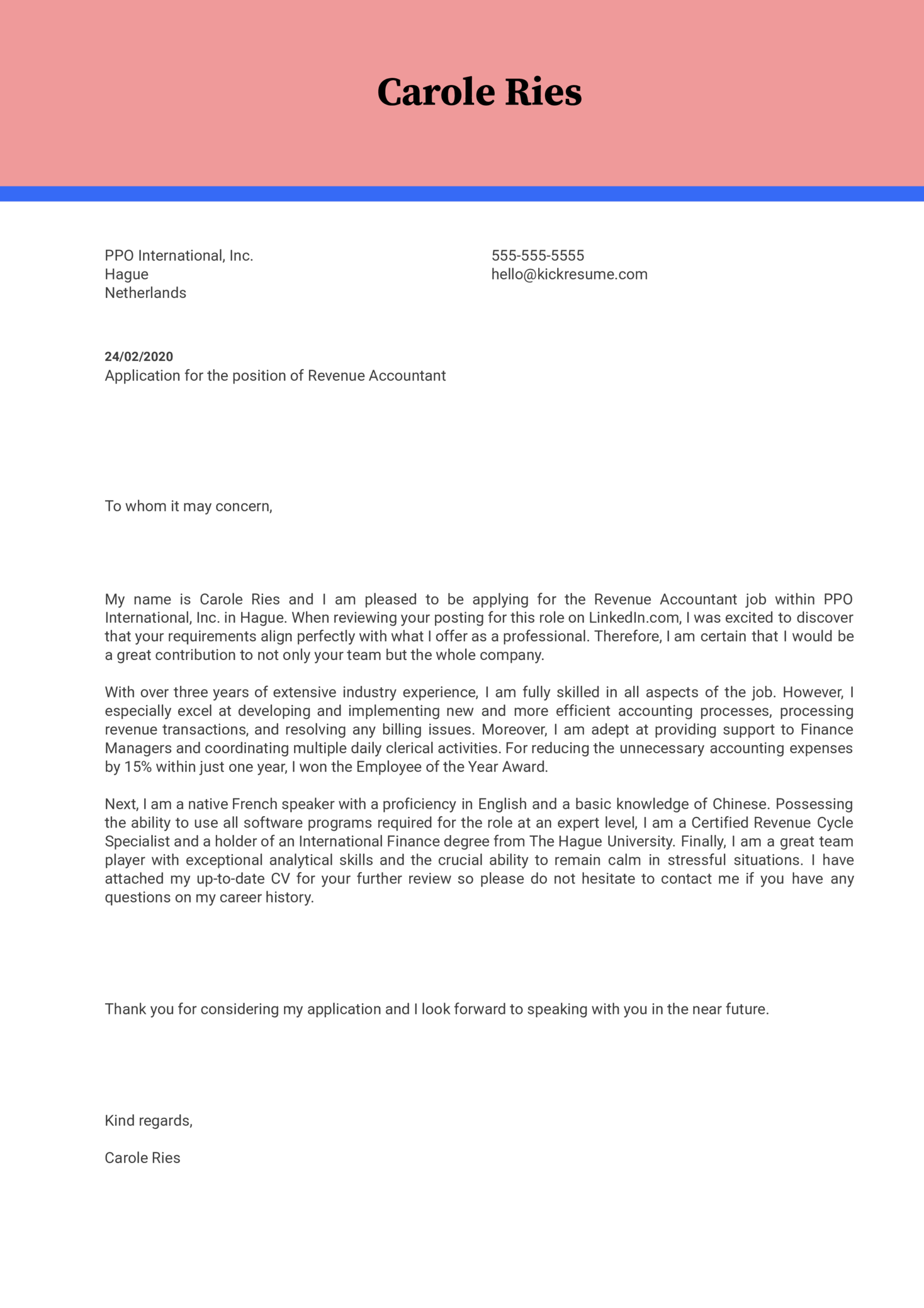 Revenue Accountant Cover Letter Example