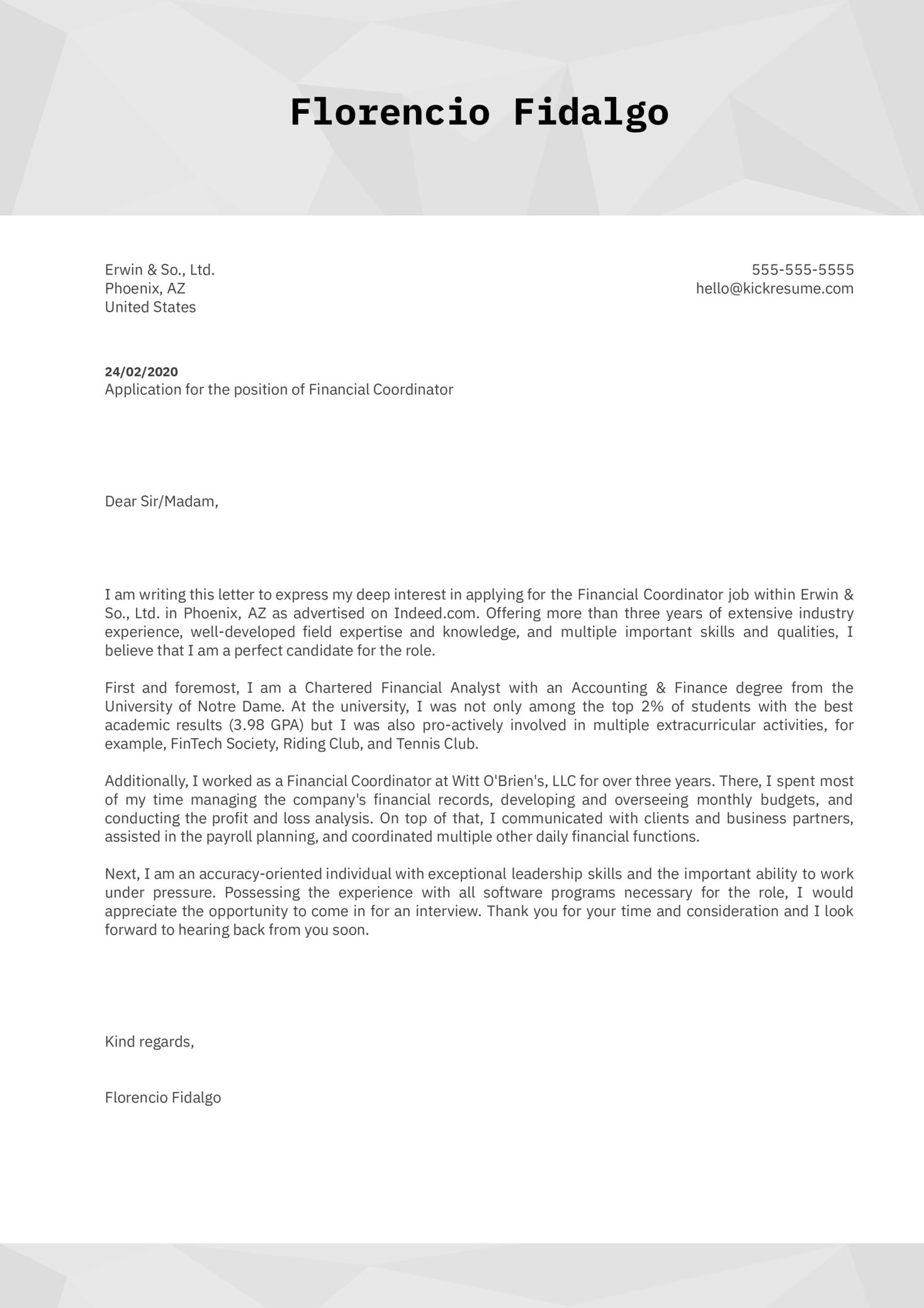 Financial Coordinator Cover Letter Sample