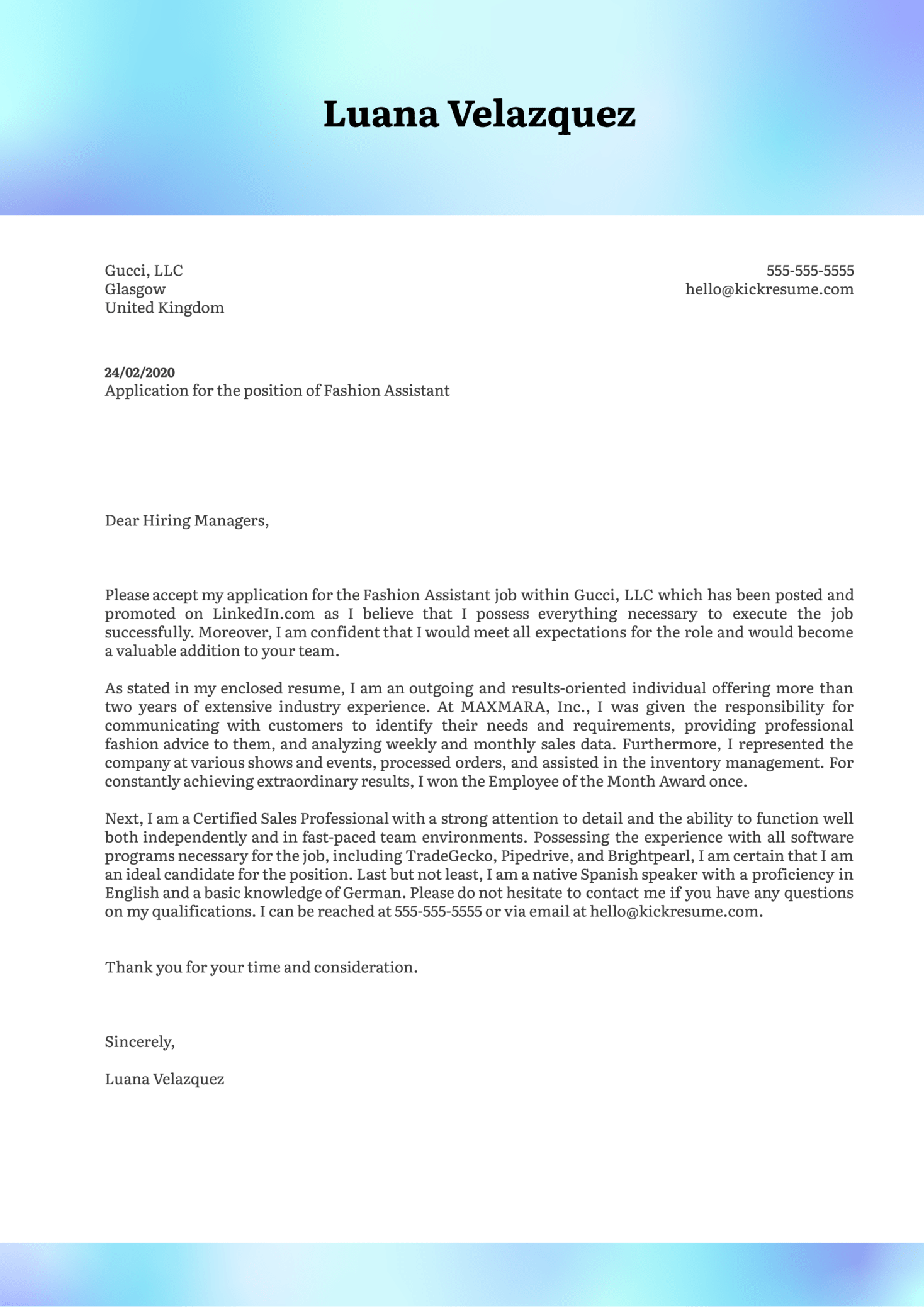 Fashion Assistant Cover Letter Example