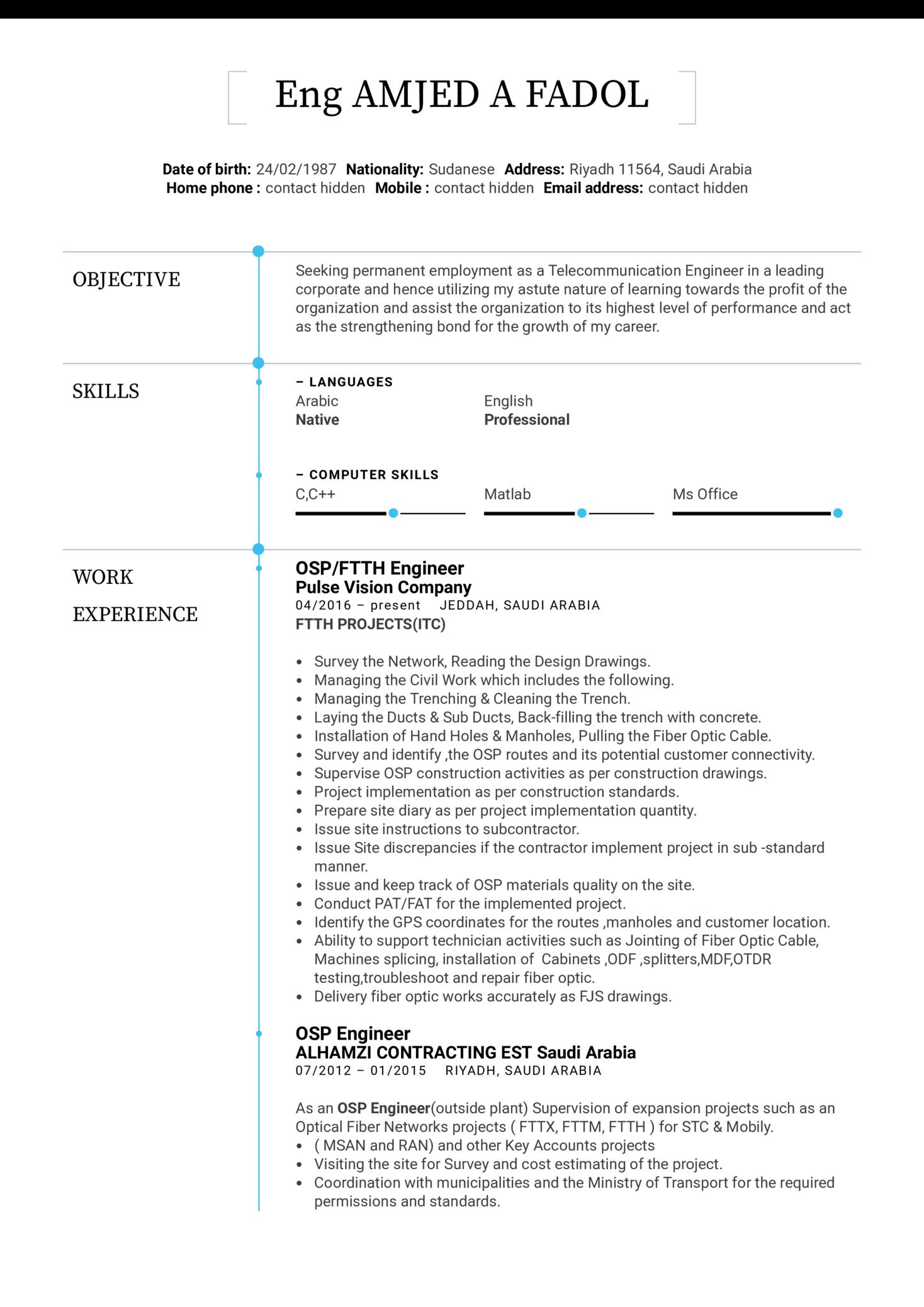 OSP Engineer Resume Template (Part 1)