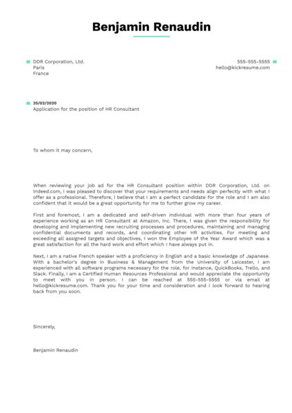 HR Consultant Cover Letter Sample