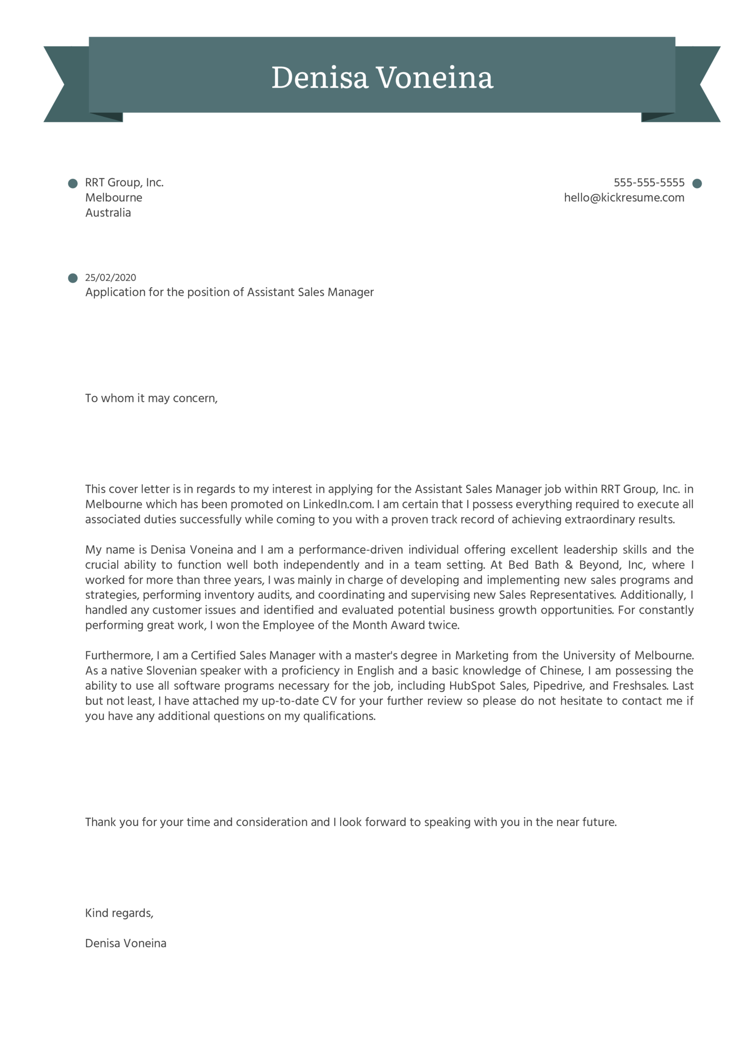 Assistant Sales Manager Cover Letter Sample