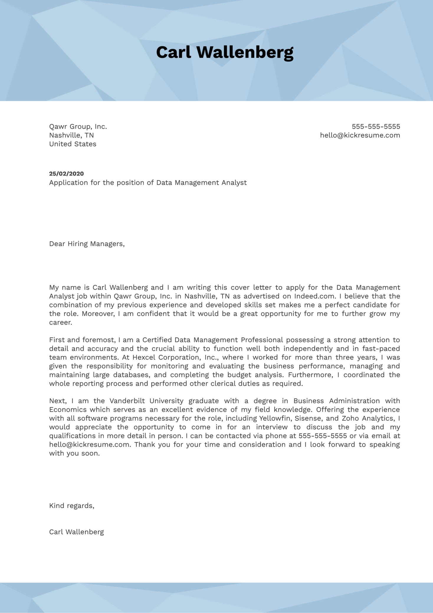 Data Management Analyst Cover Letter Example