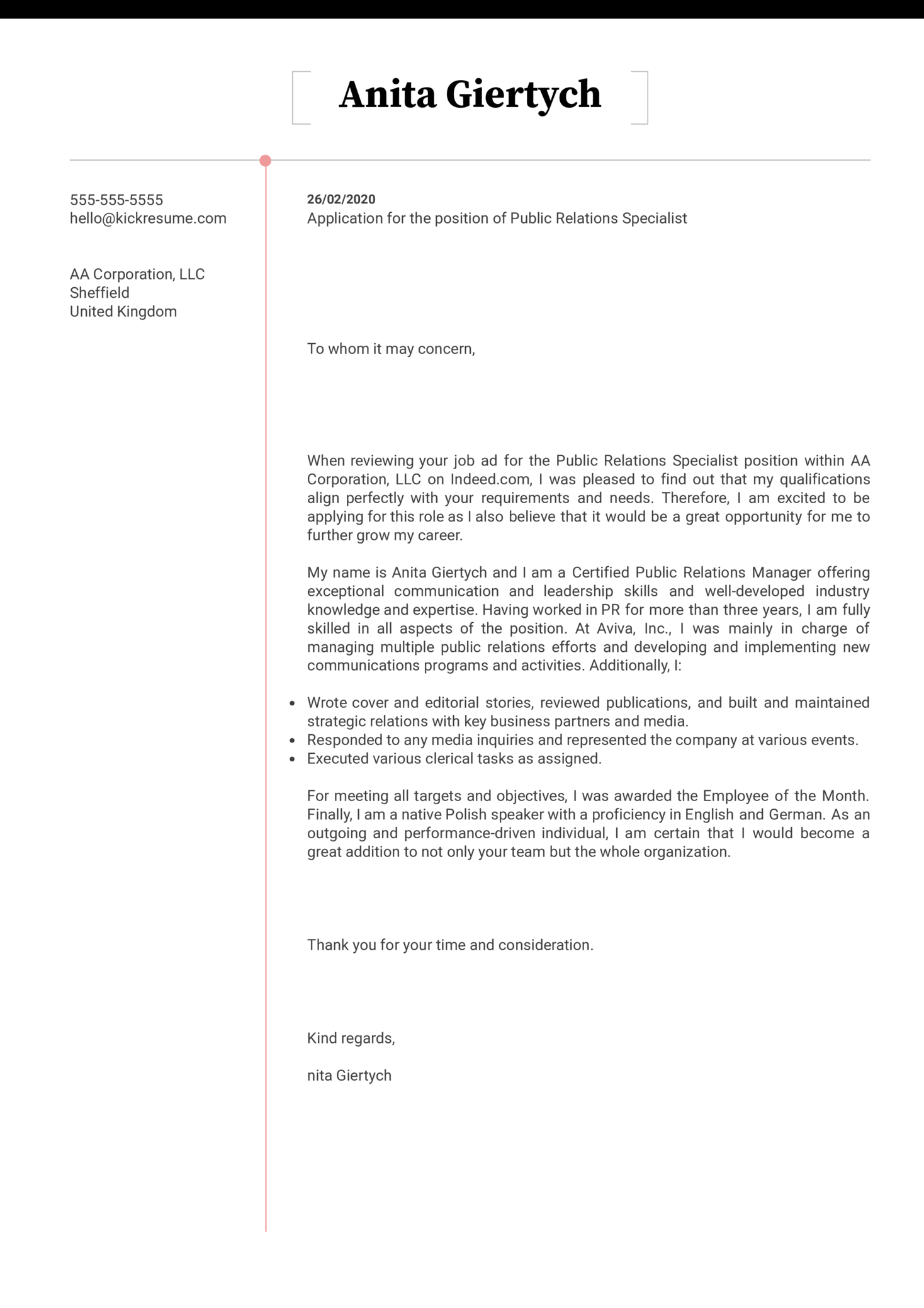 Public Relations Specialist Cover Letter Sample