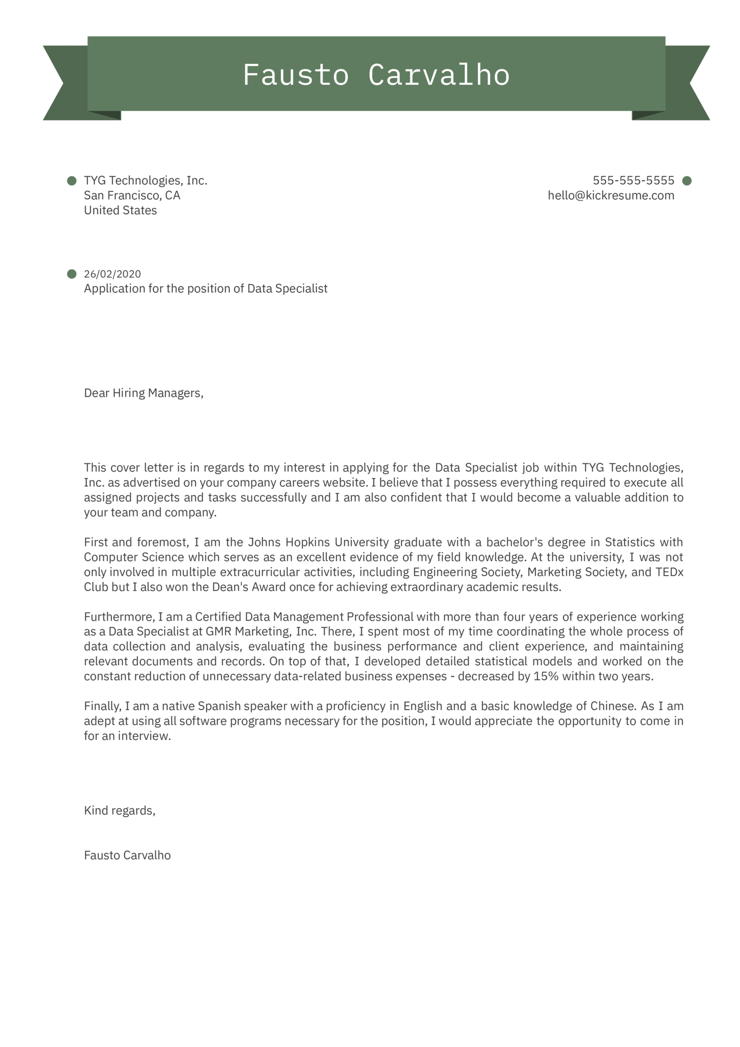 Data Specialist Cover Letter Example
