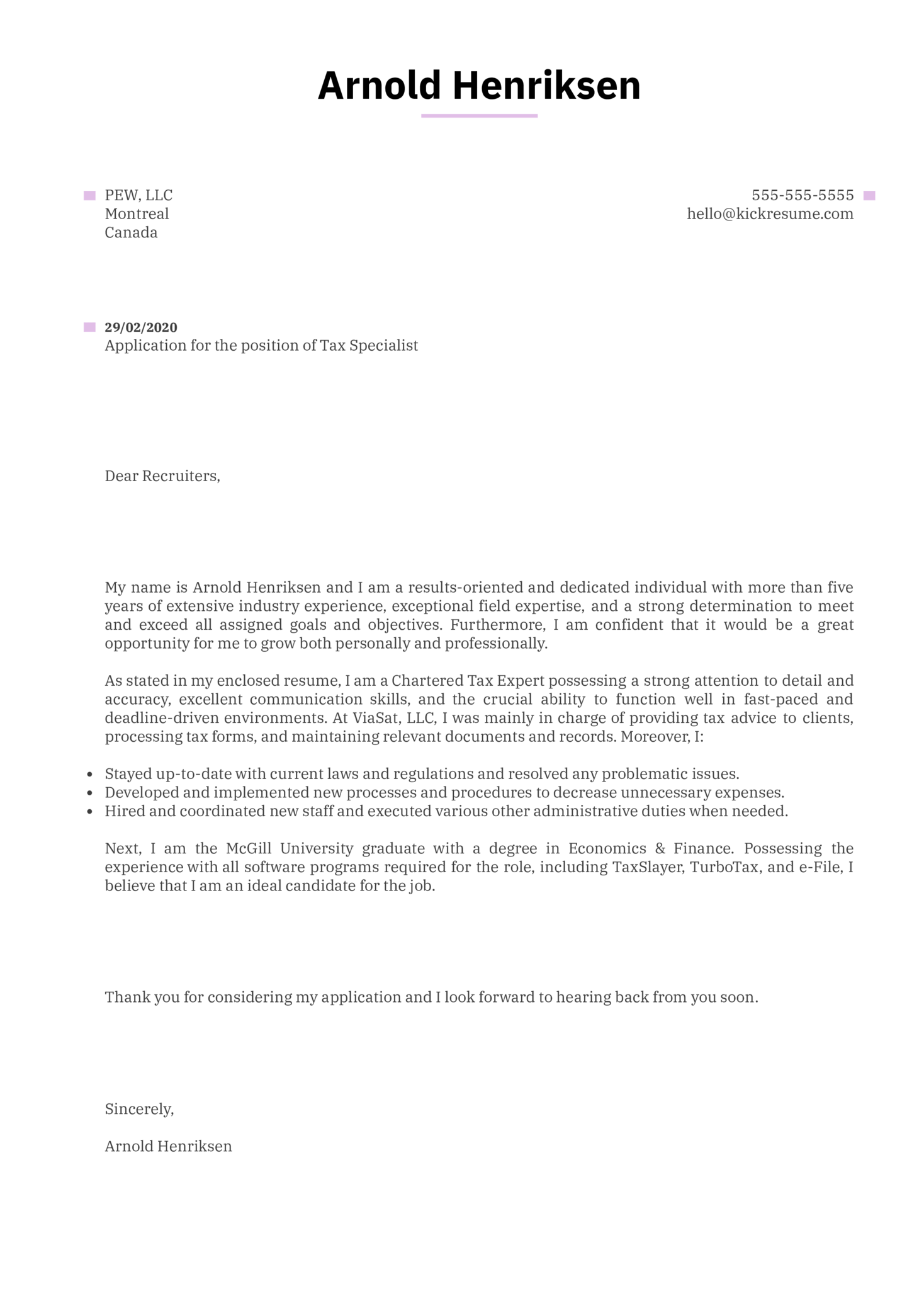 Tax Specialist Cover Letter Example