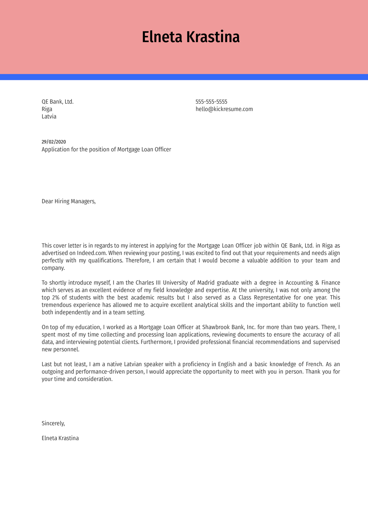 Mortgage Loan Officer Cover Letter Example