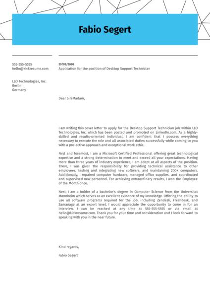 Desktop Support Technician Cover Letter Sample