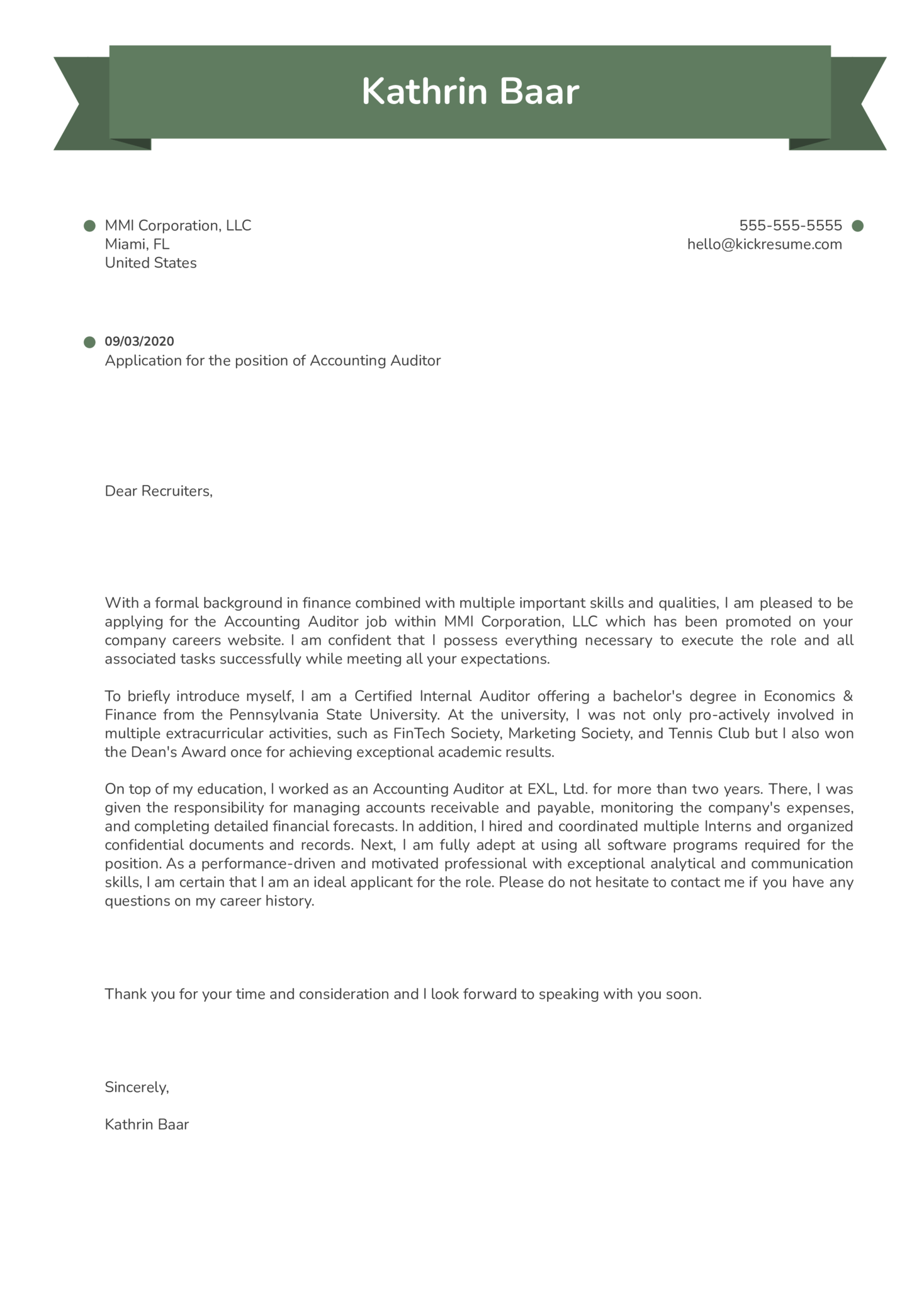 Accounting Auditor Cover Letter Example