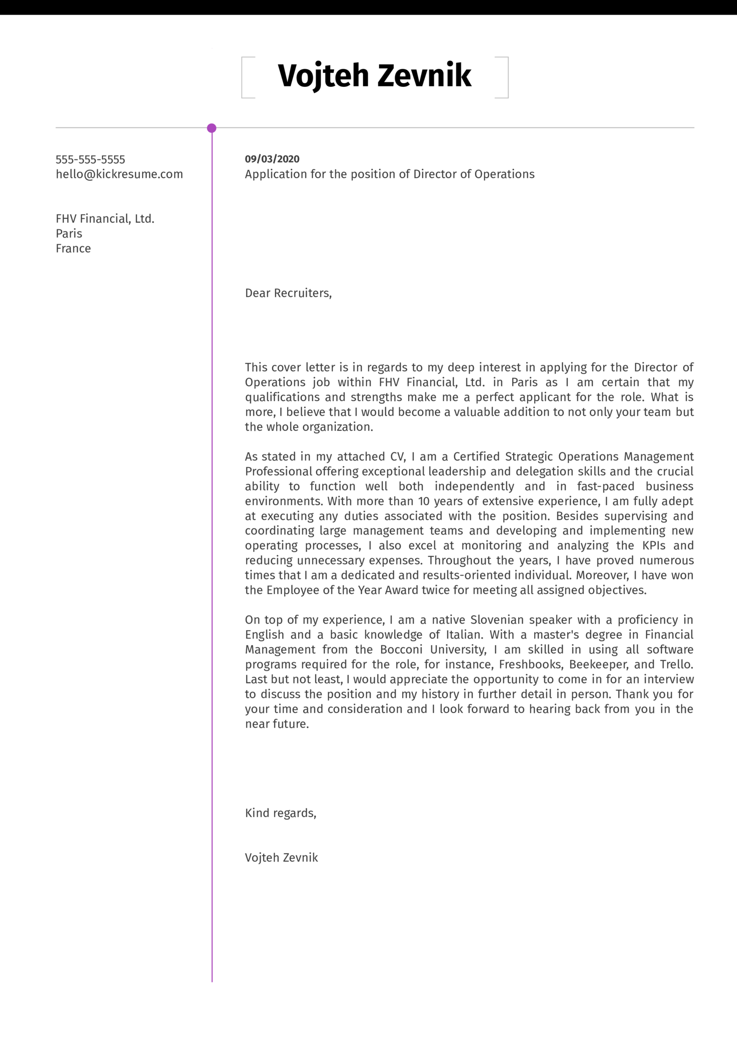 Director of Operations Cover Letter Template