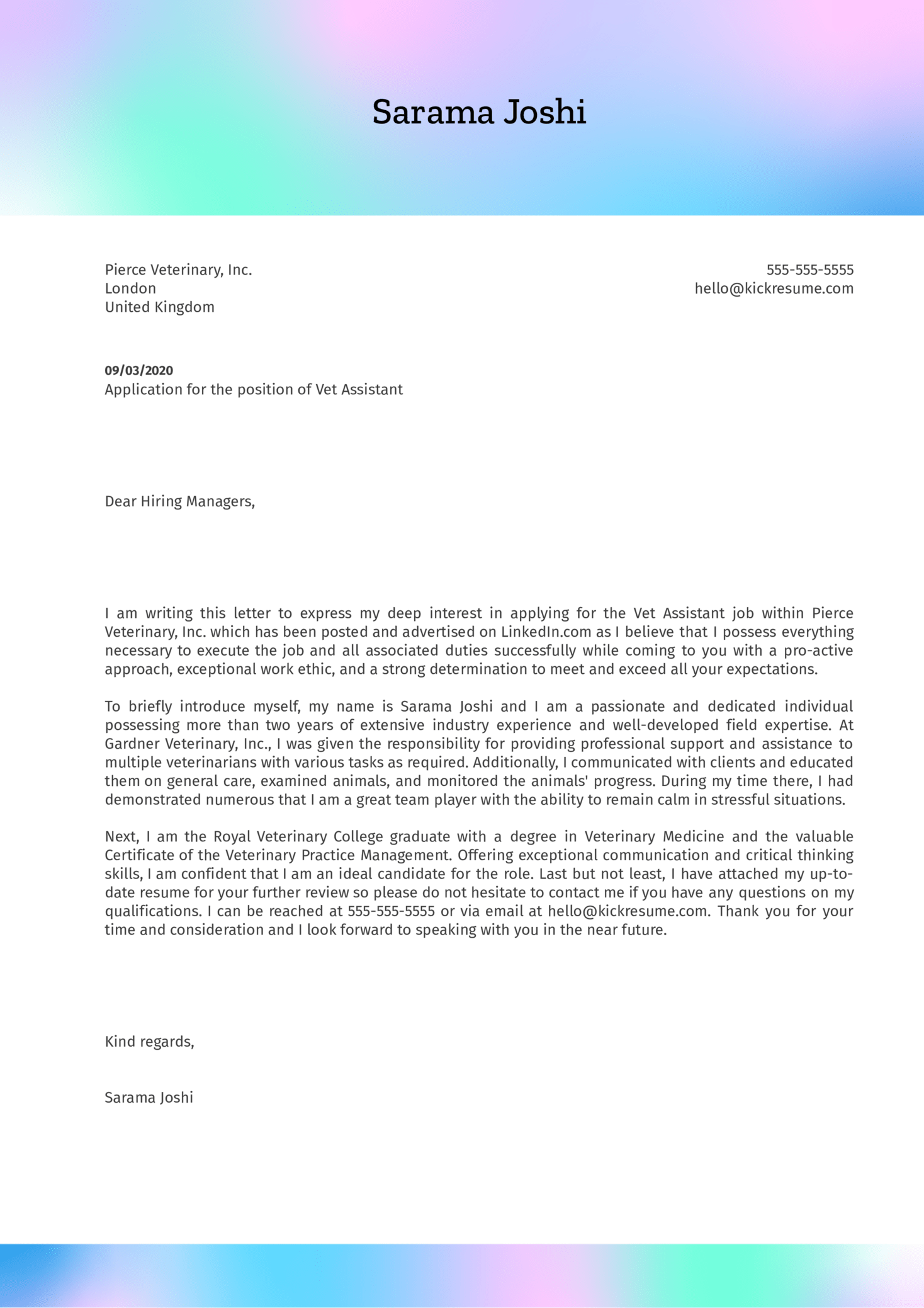 Vet Assistant Cover Letter Example