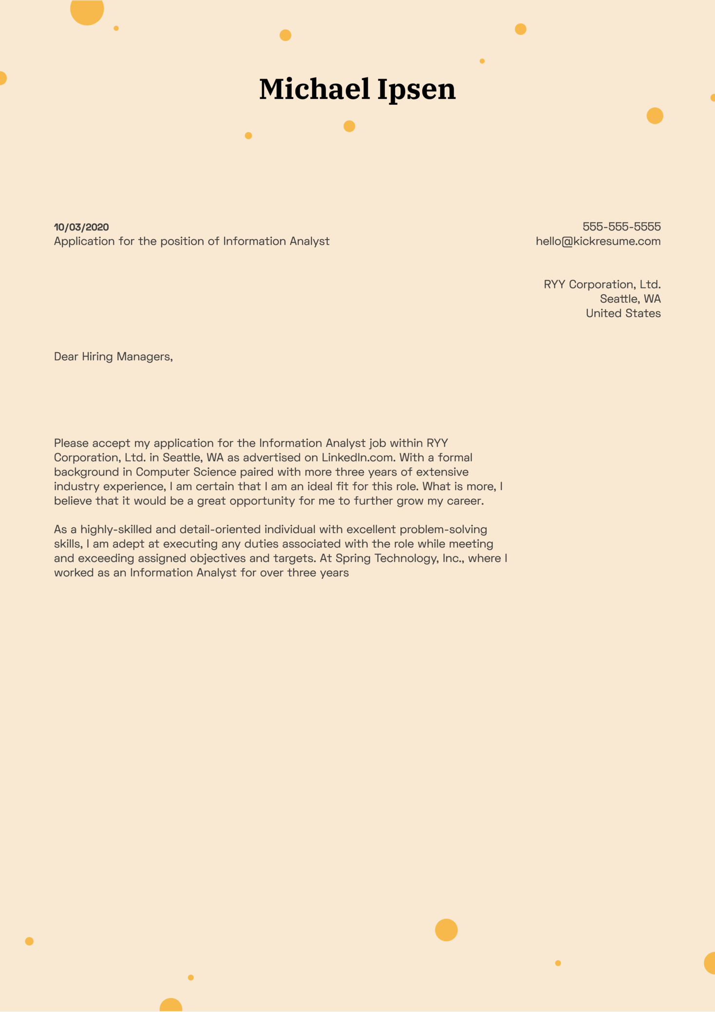 Information Analyst Cover Letter Sample