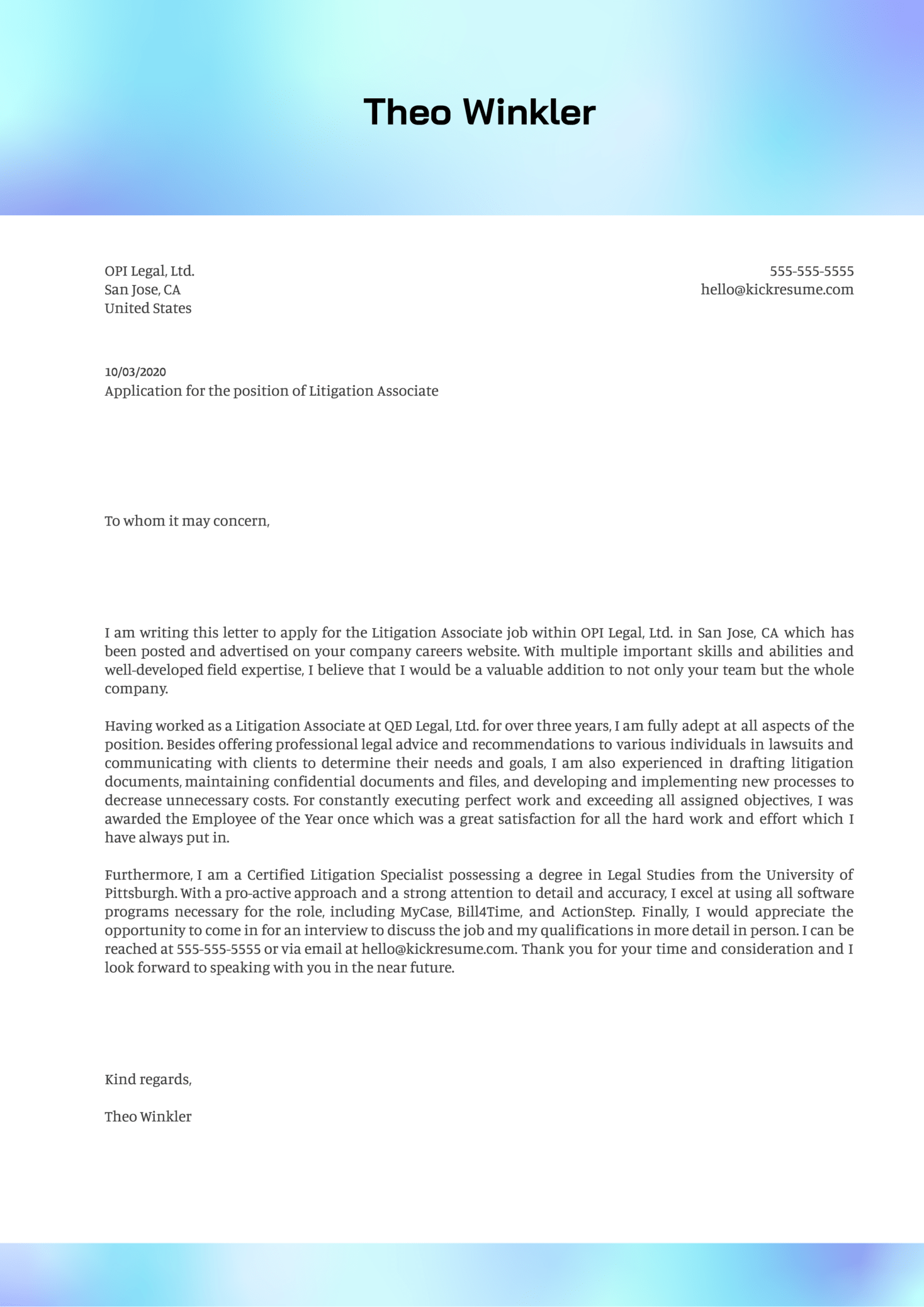 Litigation Associate Cover Letter Example