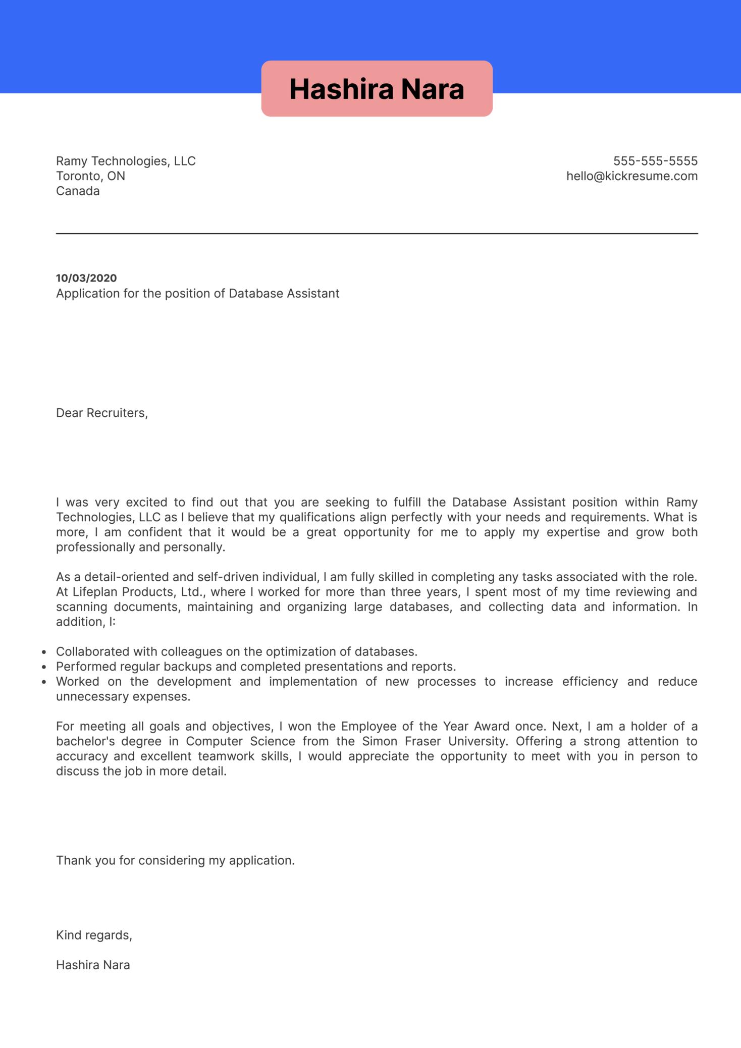 Database Assistant Cover Letter Sample