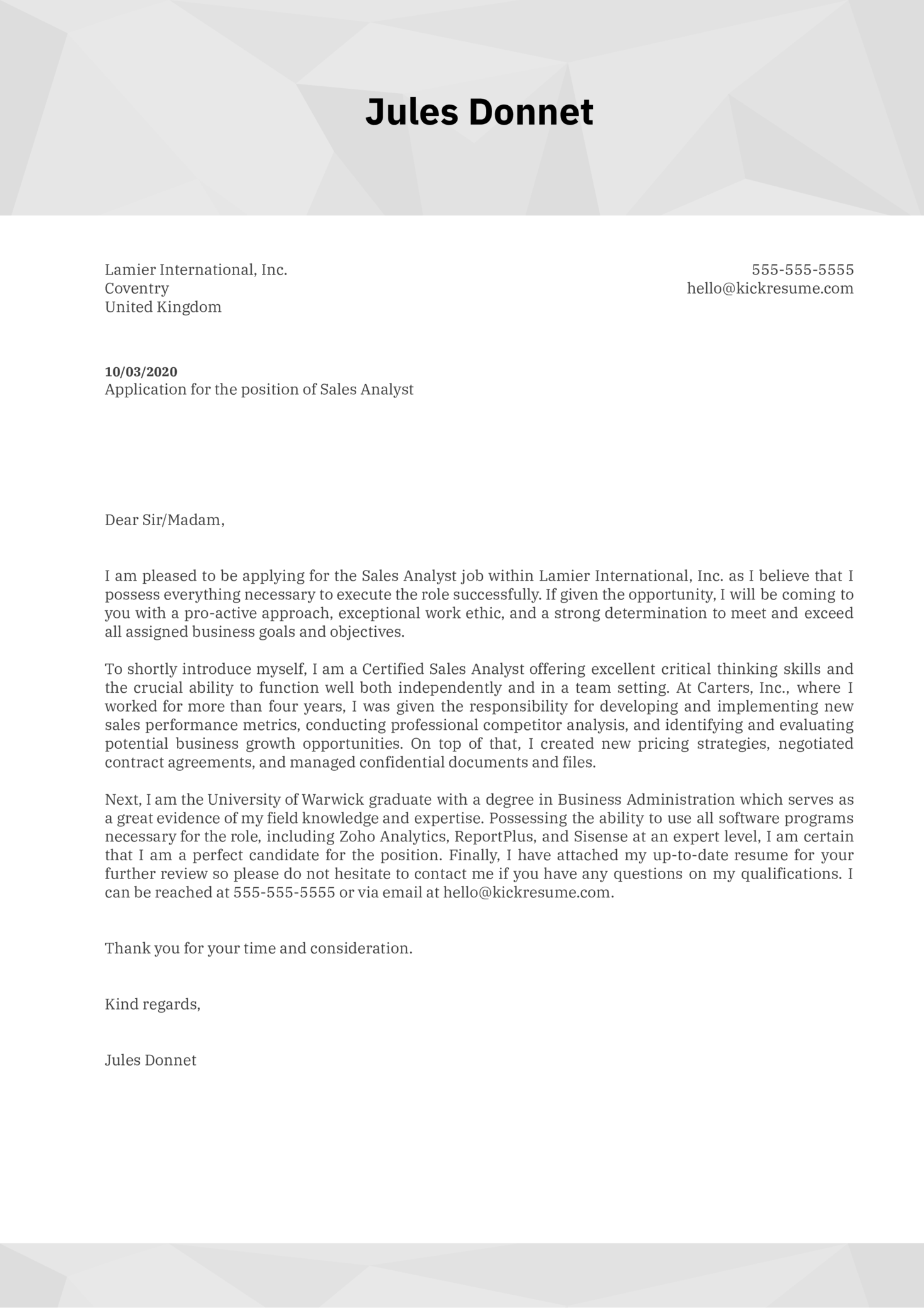 Sales Analyst Cover Letter Sample