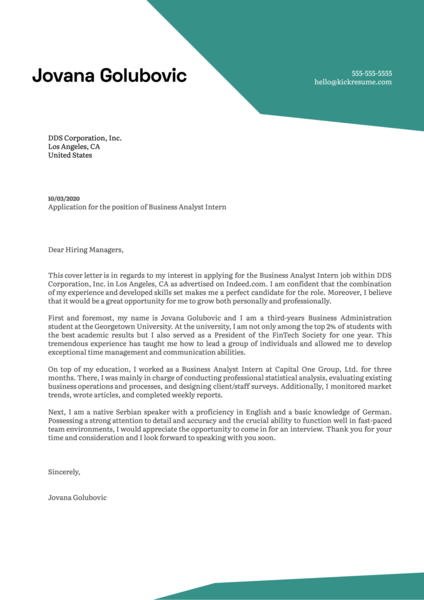 Business Analyst Internship Cover Letter Example