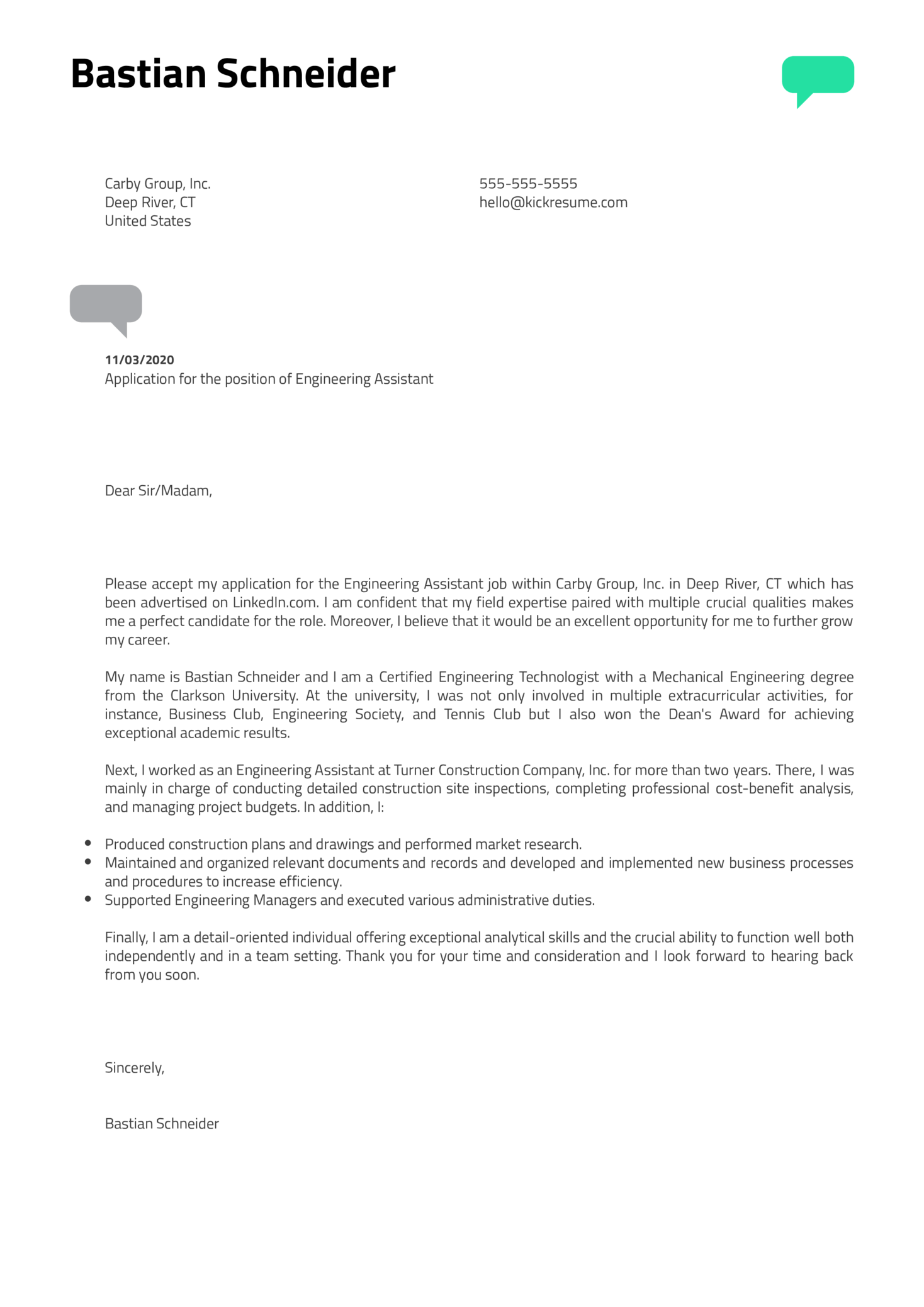 Engineering Assistant Cover Letter Example