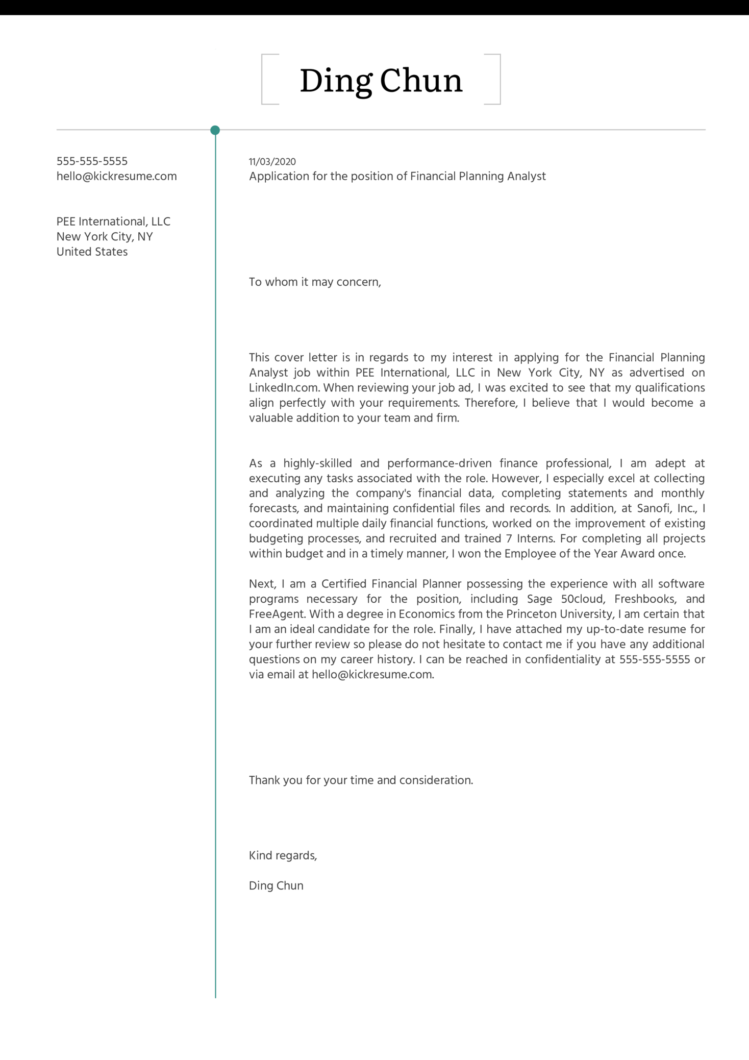 Financial Planning Analyst Cover Letter Example