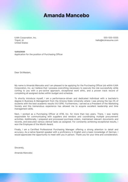 Purchasing Officer Cover Letter Sample