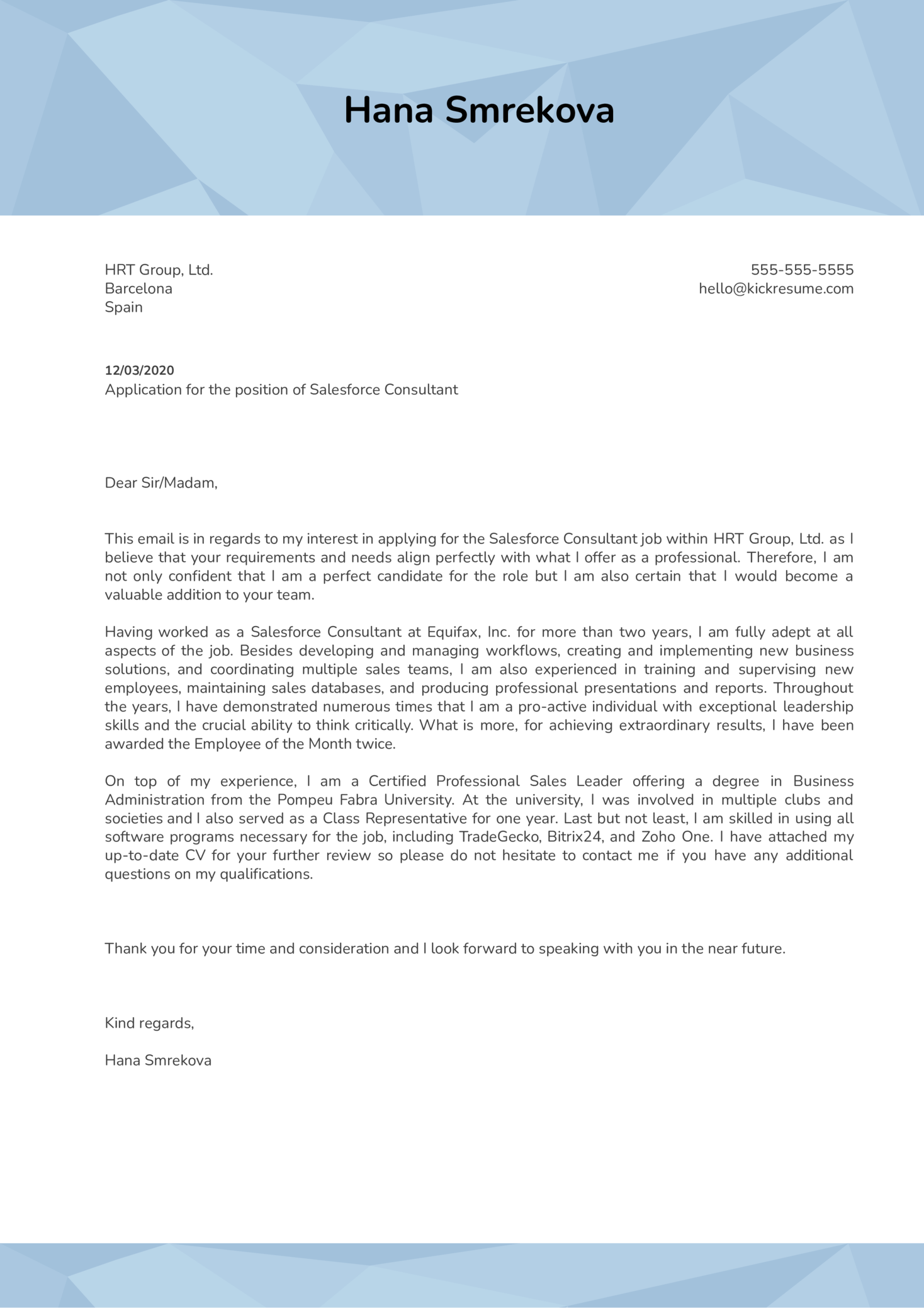 Salesforce Consultant Cover Letter Sample