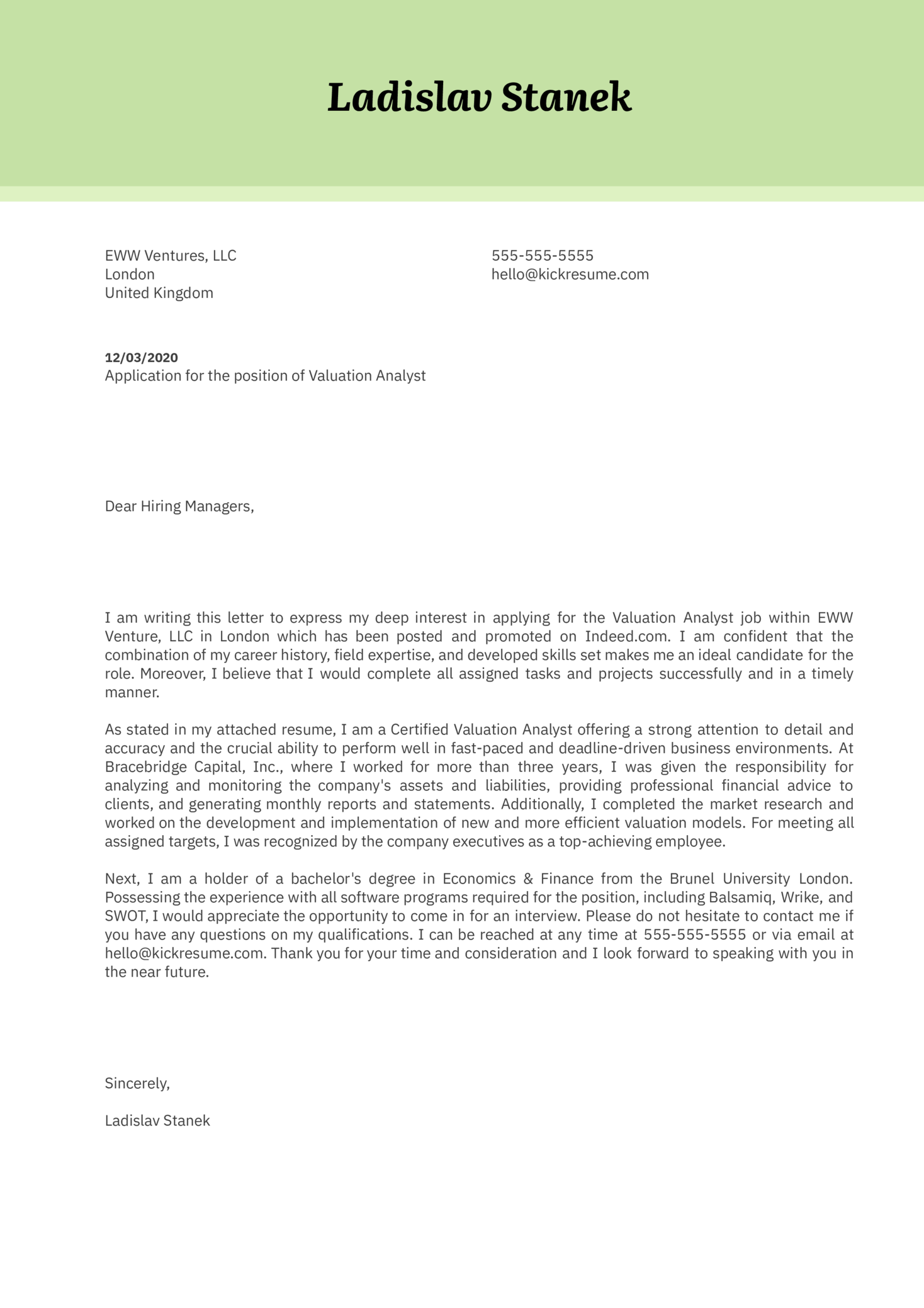 Valuation Analyst Cover Letter Example