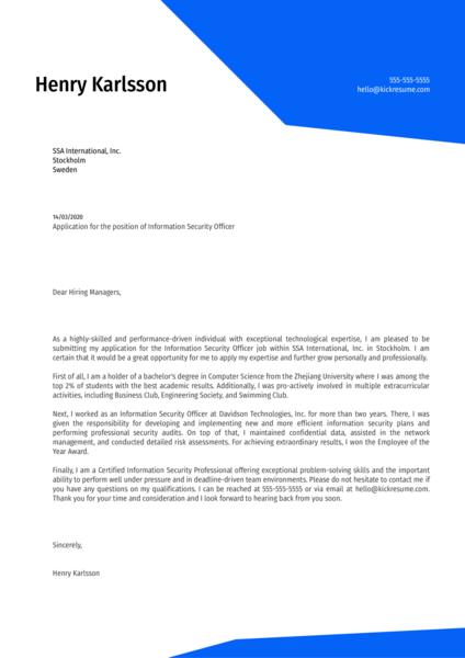 Information Security Officer Cover Letter Sample
