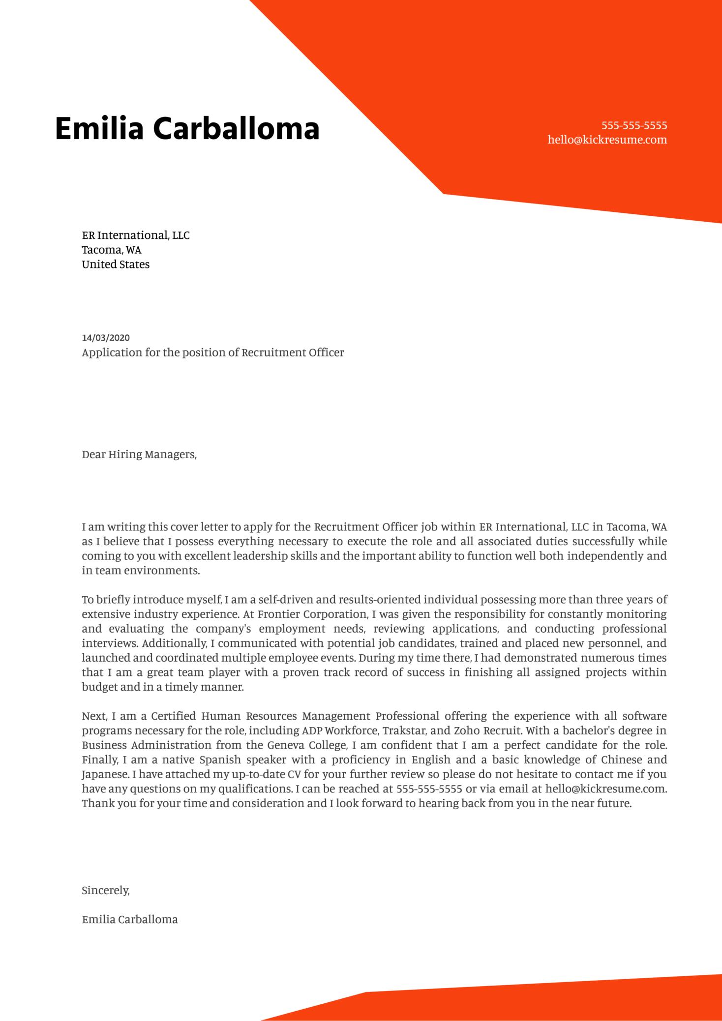 Recruitment Officer Cover Letter Example