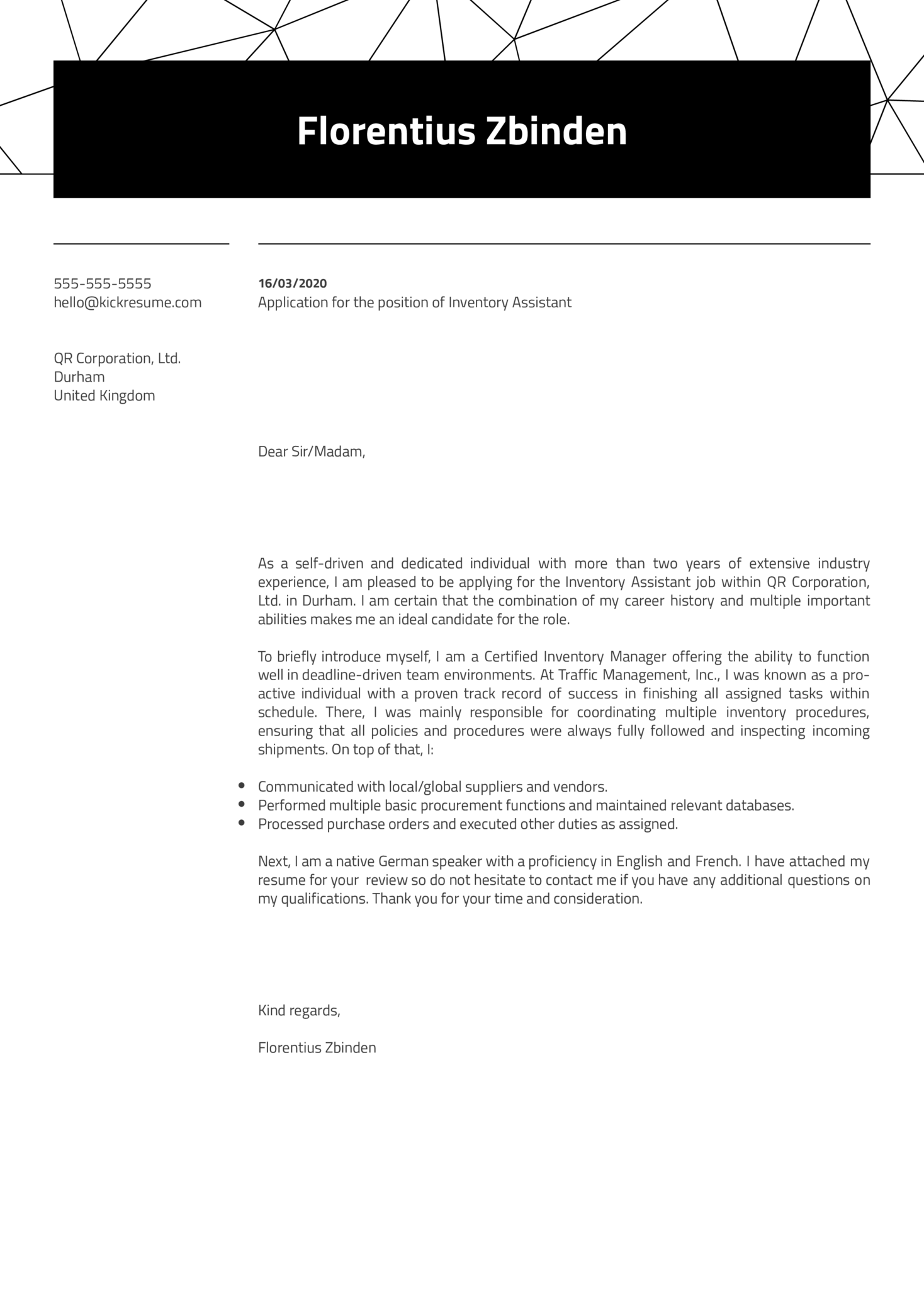 Inventory Assistant Cover Letter Sample