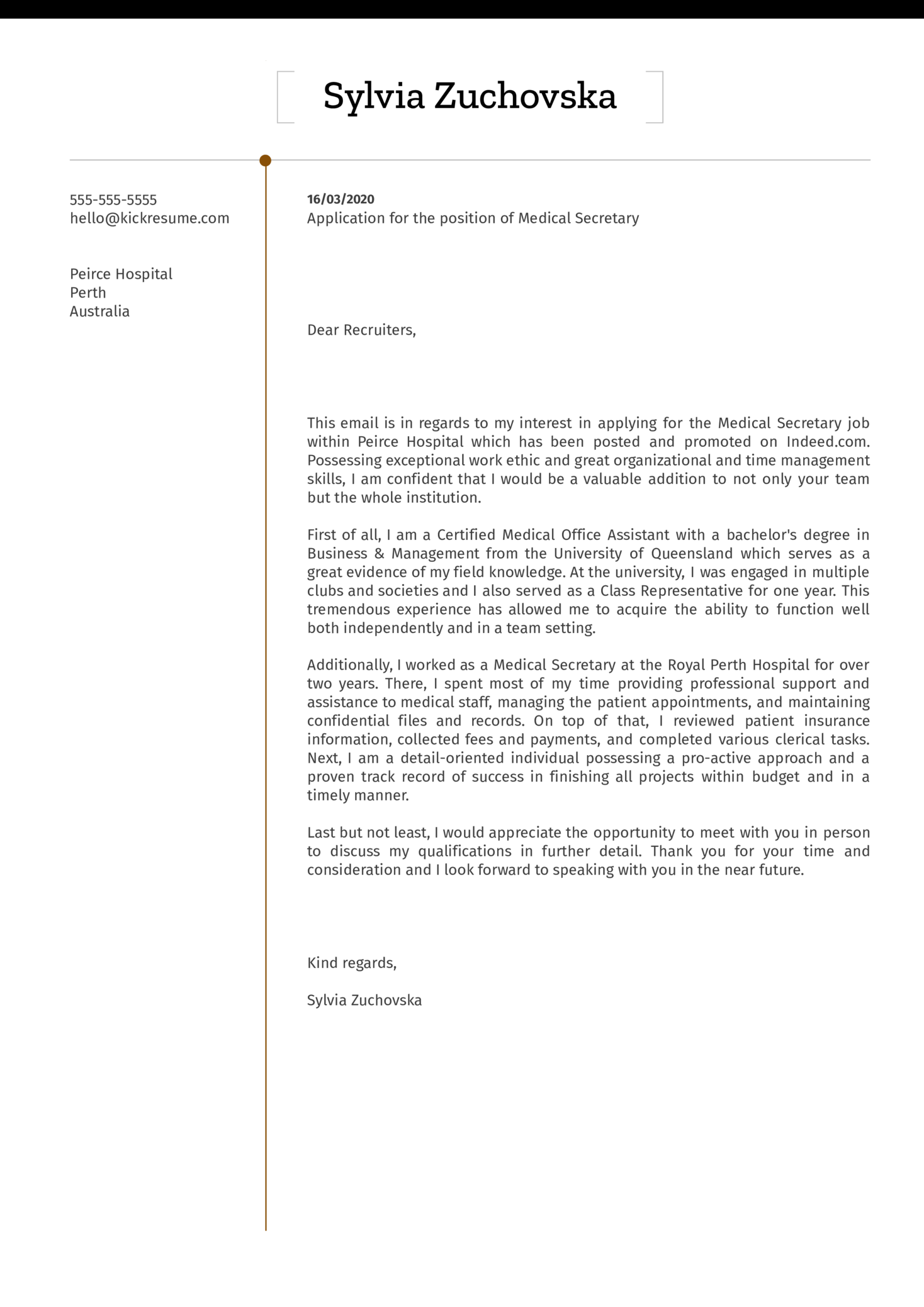 Medical Secretary Cover Letter Example