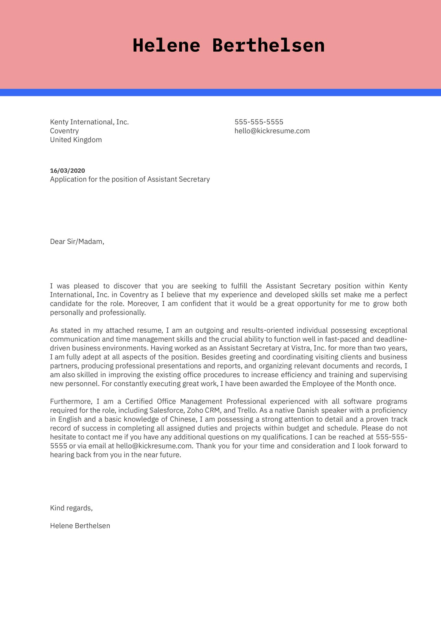 Assistant Secretary Cover Letter Sample