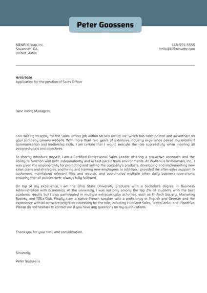 Sales Officer Cover Letter Sample
